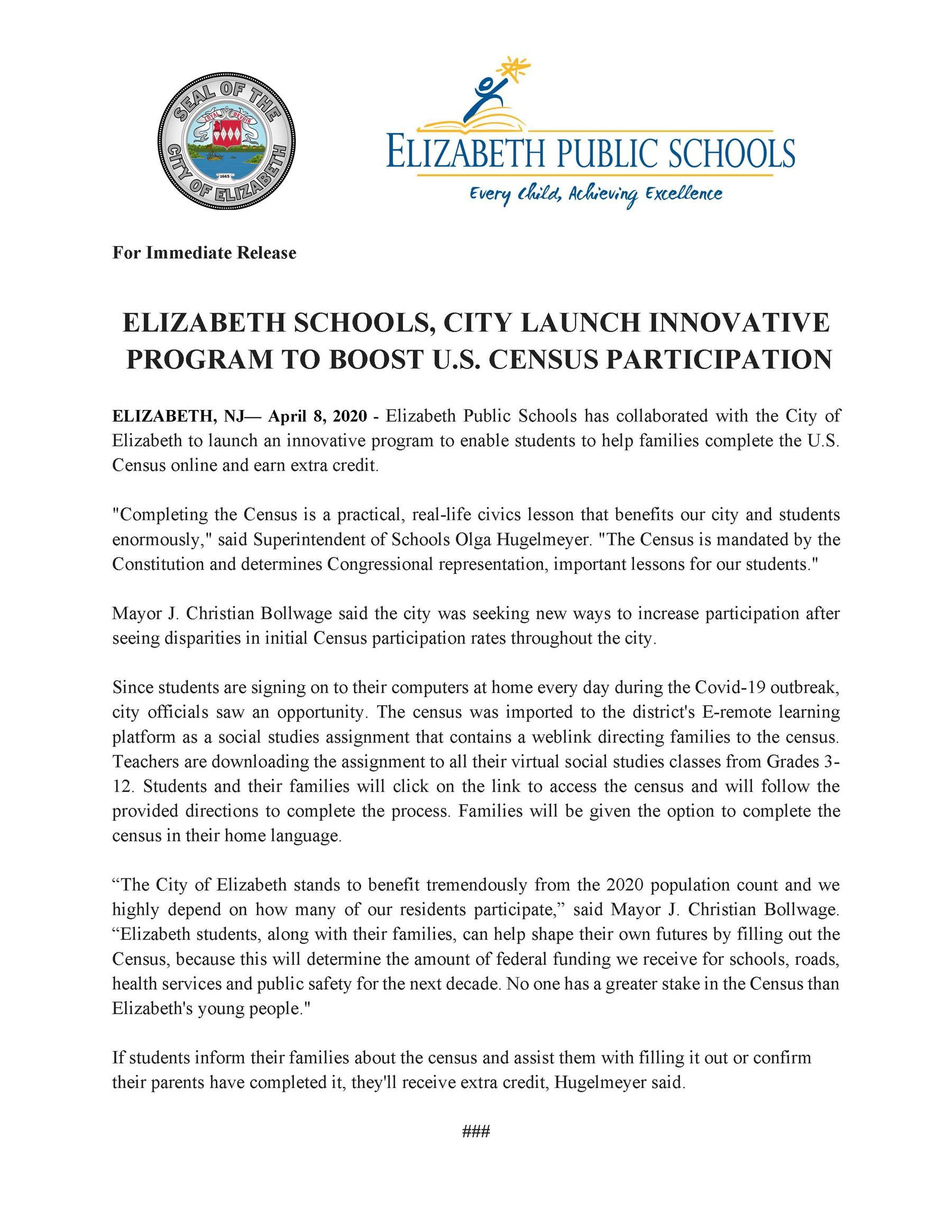 Elizabeth Schools City Launch Innovative Program To Boost US Census Participation