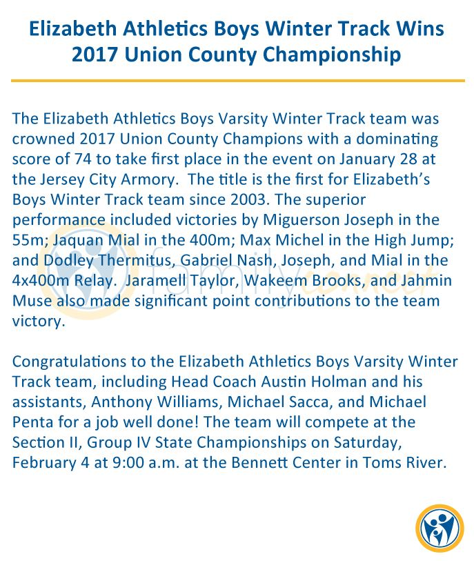 Elizabeth Athletics Boys Winter Track Wins 2017 Union County Championship