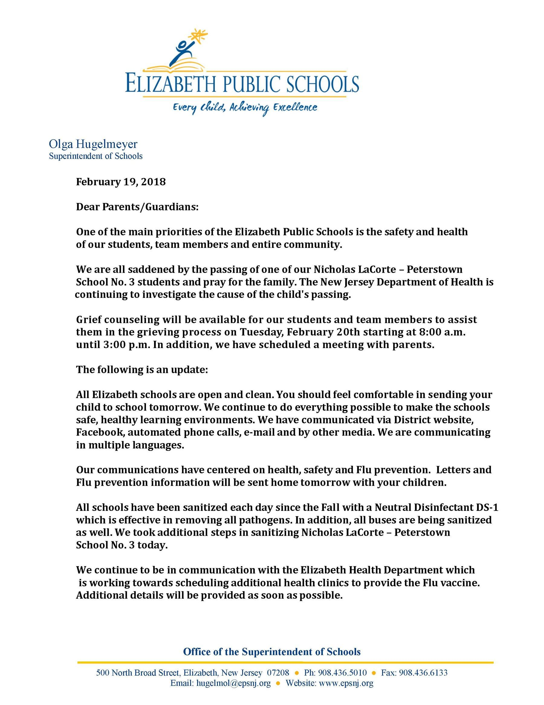 February 19th Letter to Parents Regarding Student Passing and Flu Prevention
