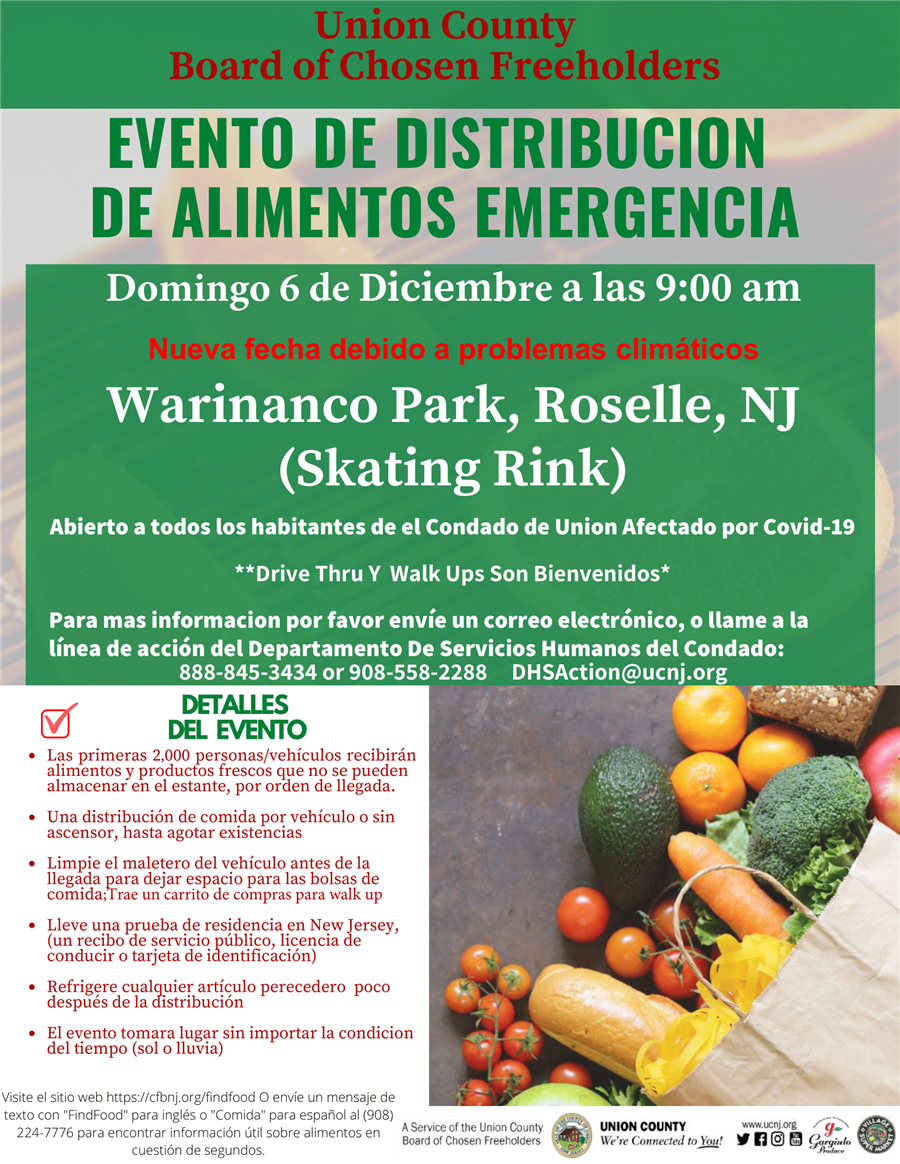 12/5 - Food Distribution Event @ Warinanco Park, Roselle