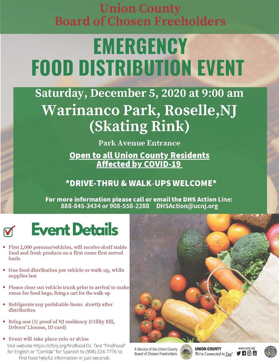 12/5 Food Distribution Event @Warinanco Park, Roselle