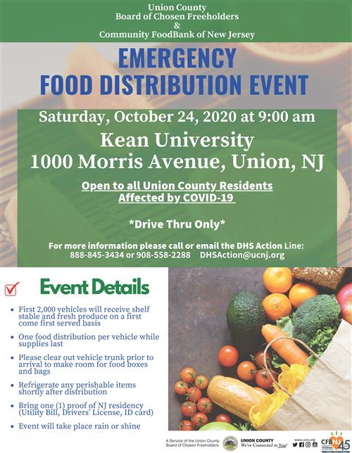 10/24 Food Distribution Event @Kean University, Union