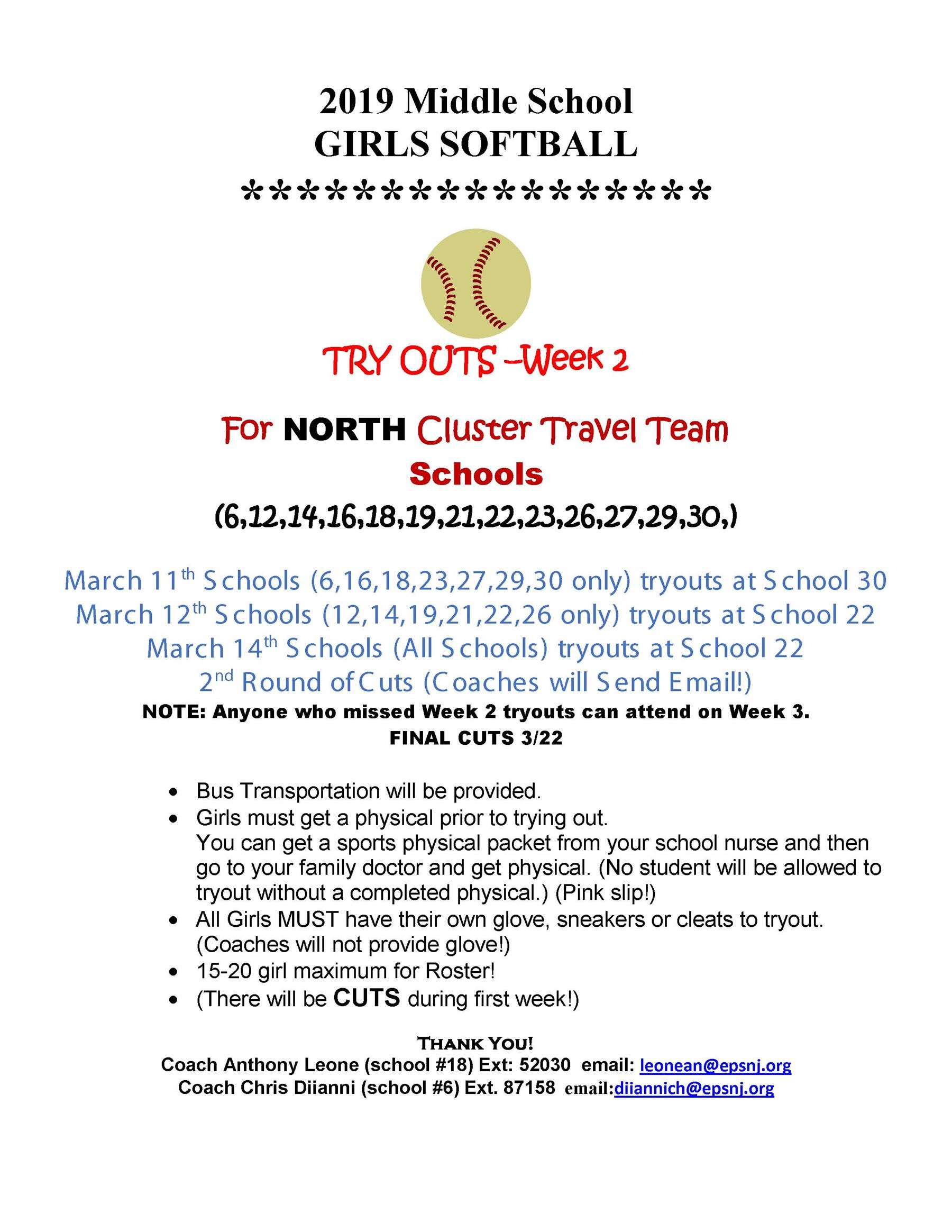 Girls MS NORTH Softball Tryouts Info Week 2