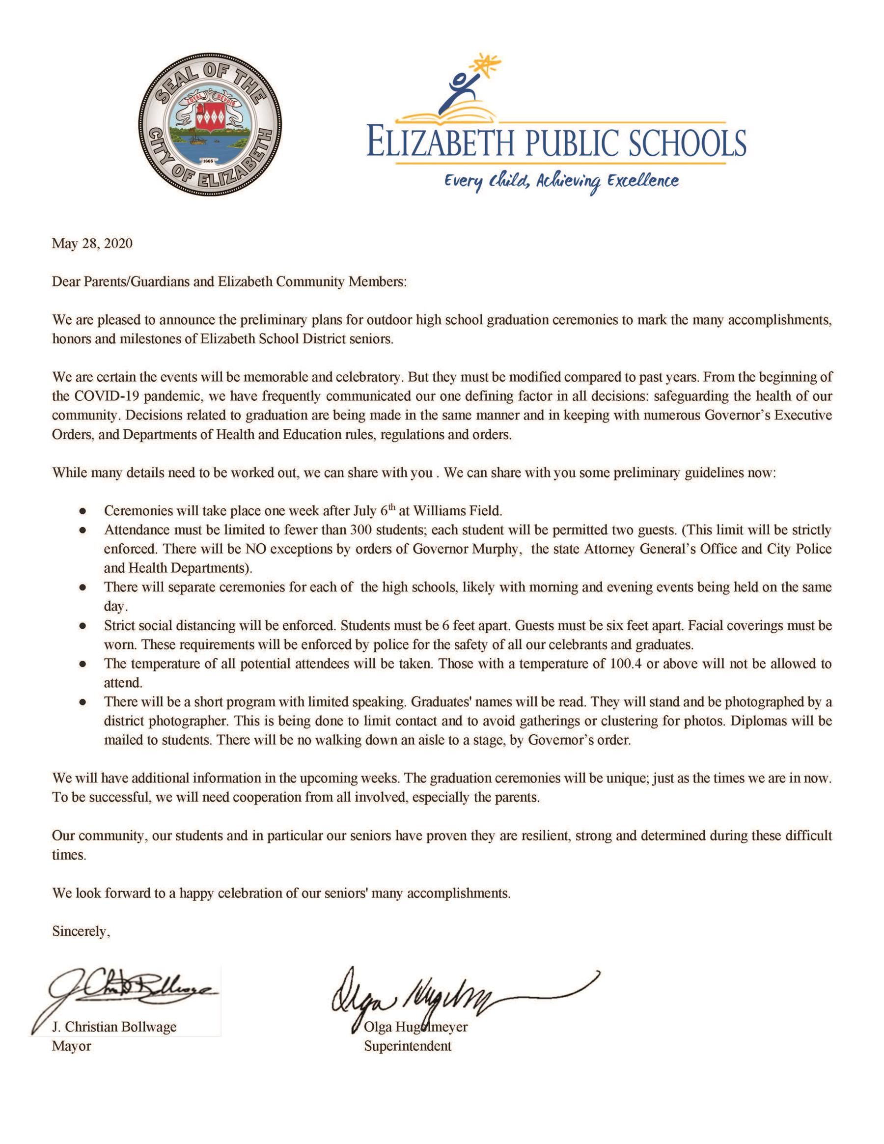 Joint Letter form Mayor and Superintendent Regarding Graduation