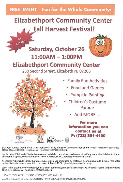 Elizabethport Community Center  Fall Harvest Festival!