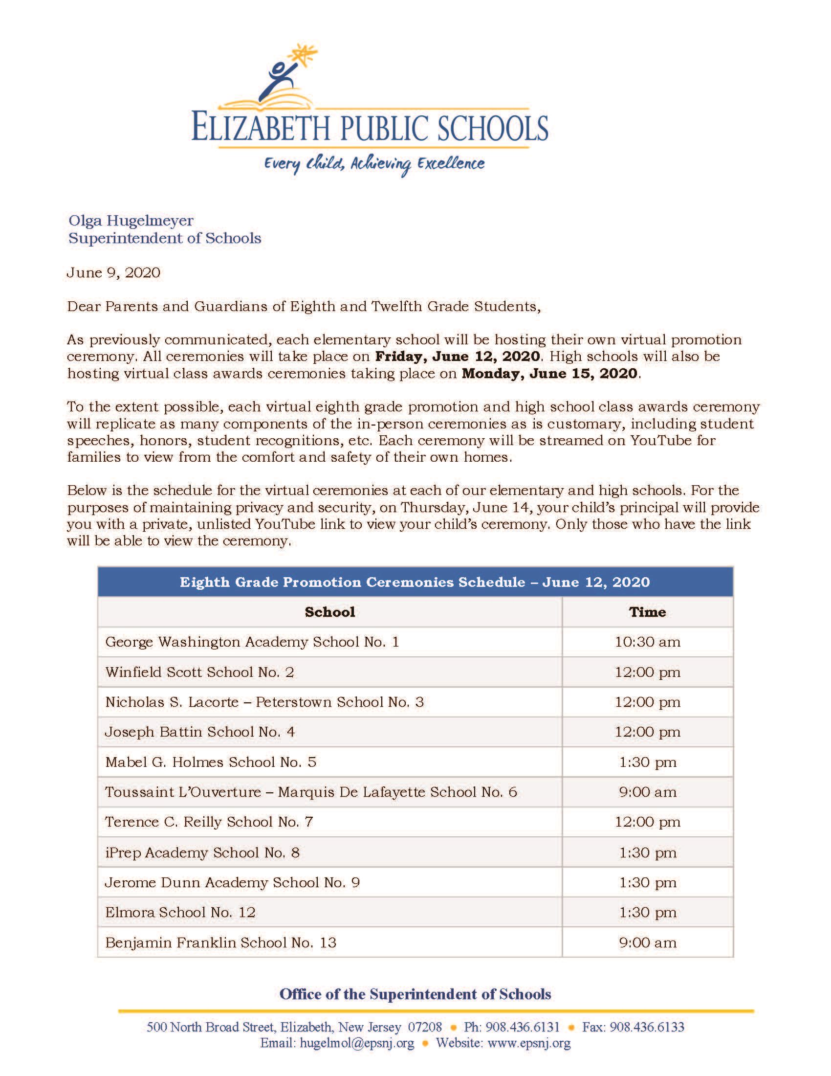Letter to Parents-Guardians About 8th Grade Promotion - High School Class Awards Virtual Ceremonies Schedules- 6-9-20