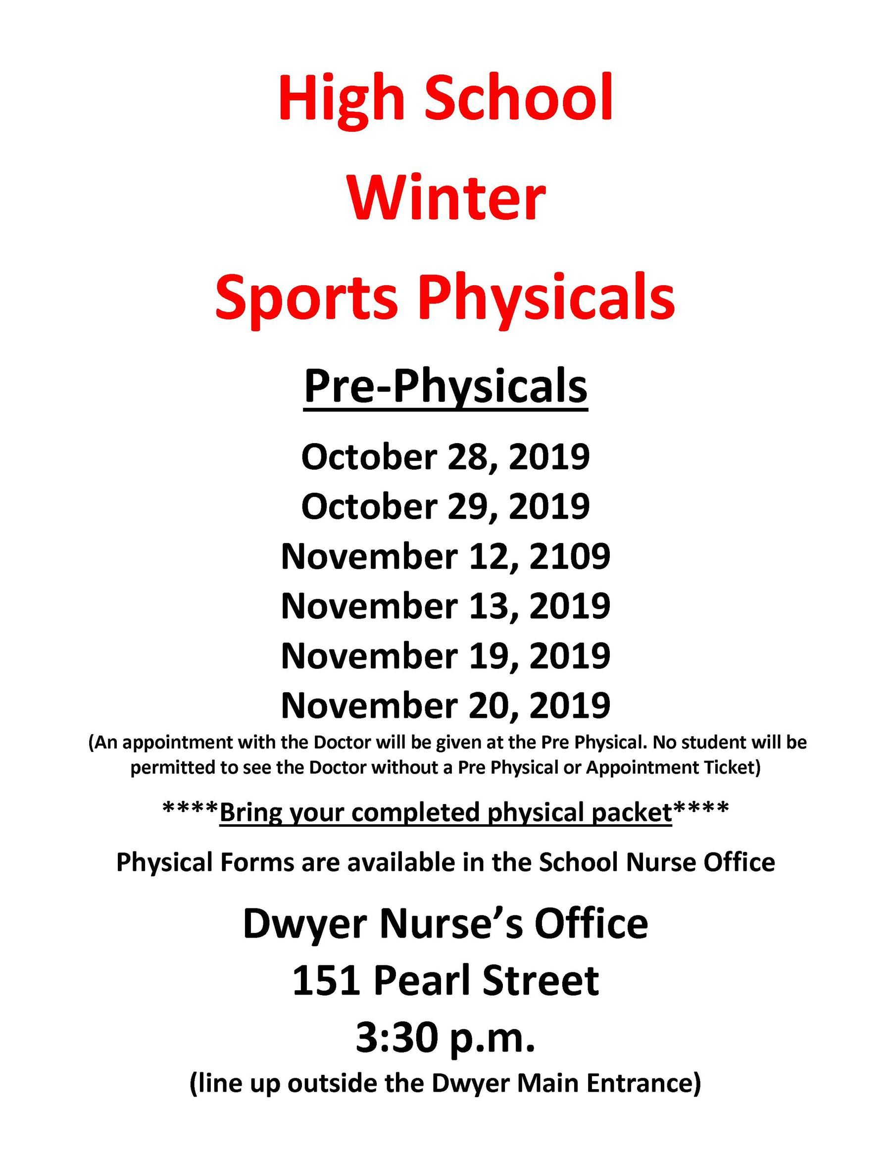 Winter High & Middle School Sports Physicals