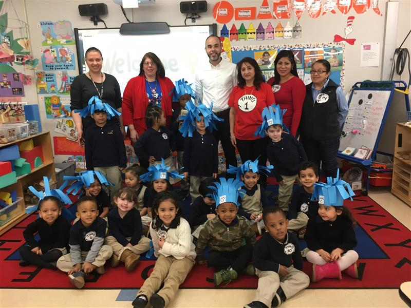 Board of Education Member Paul M. Perreira visited School 5 annex to read to students as part of Elizabeth Public Schools' Read Across America