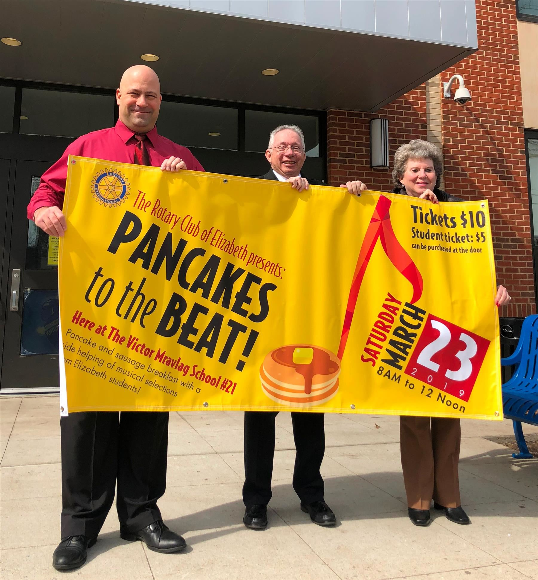 Elizabeth Rotary Gets Set to Flip Pancakes at School #21!