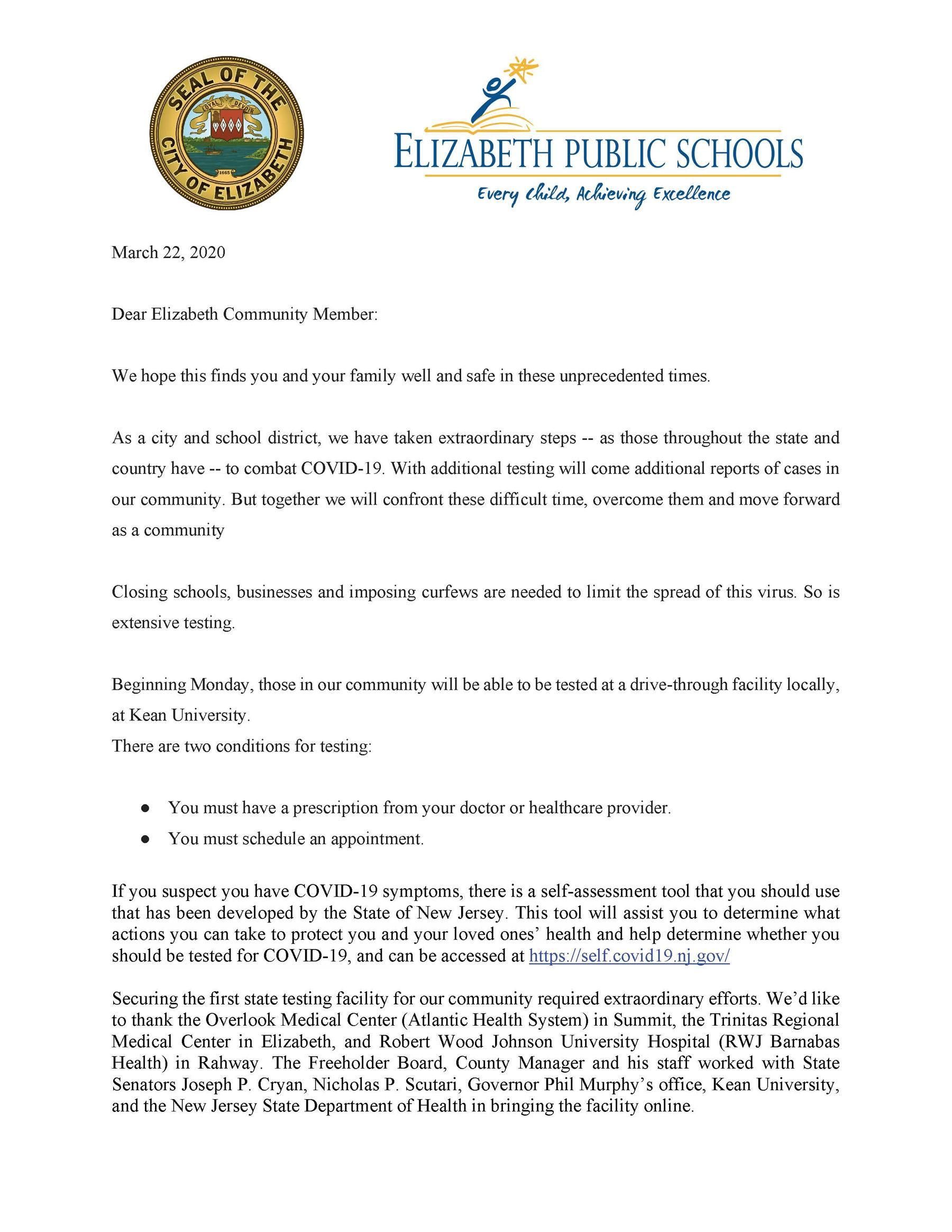 Joint Statement from Mayor and Superintendent Regarding Kean Testing Facility 3/22/20 (Español, Português, Kreyòl Ayisyen, عربى)