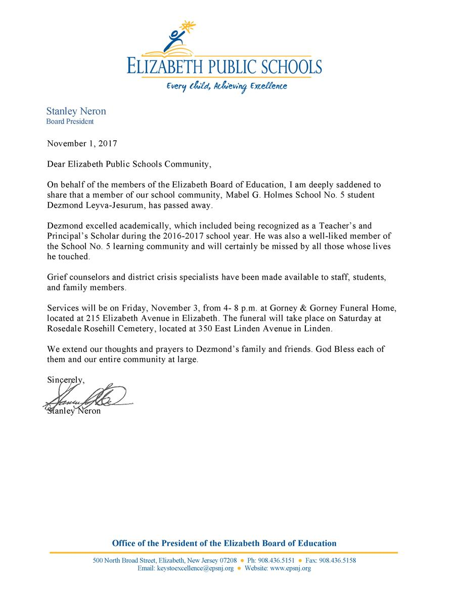 Letter from Stanley Neron on the passing of Dezmond Leyva-Jesurum