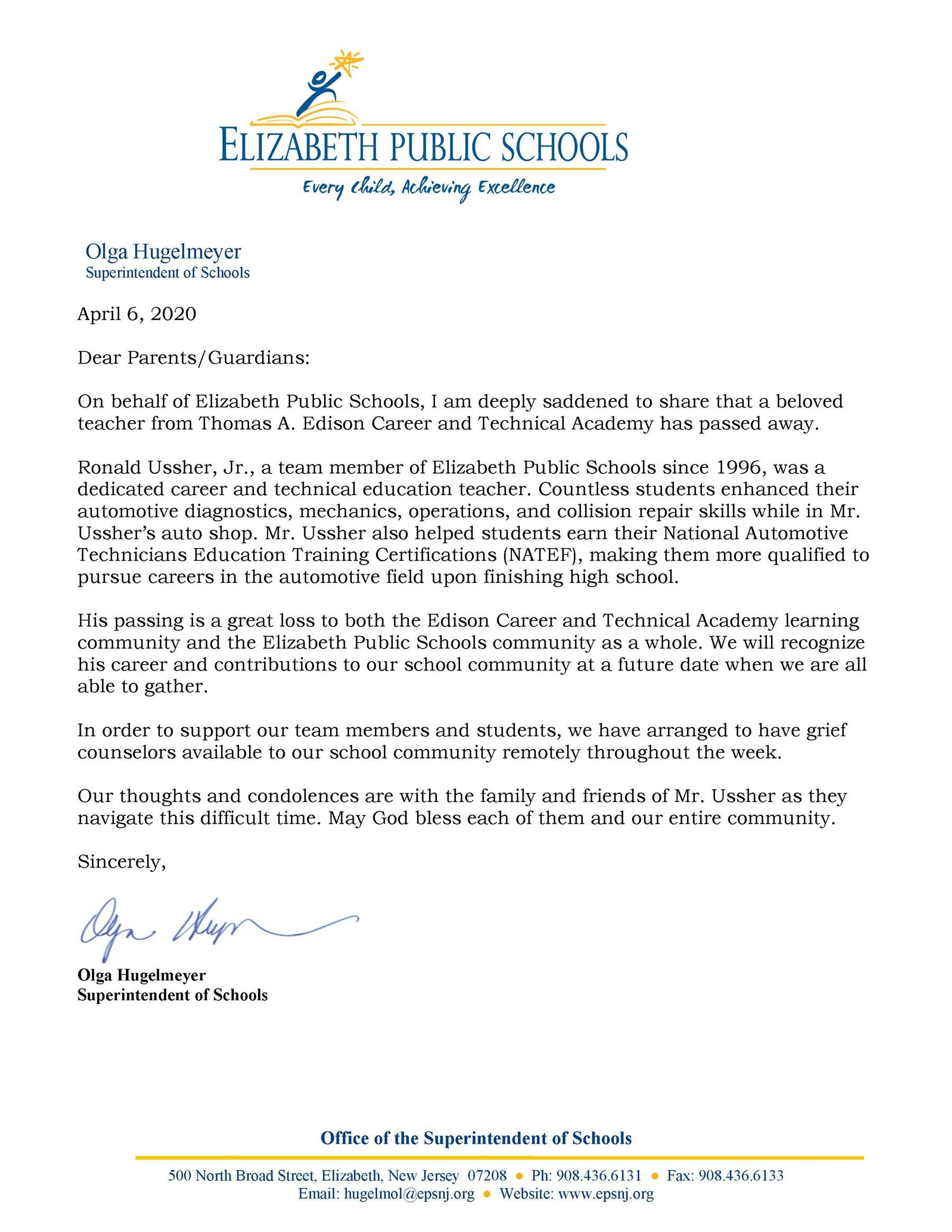 4-6-20 Letter to Community about the Passing of Ronald Ussher Jr- 4-6-20