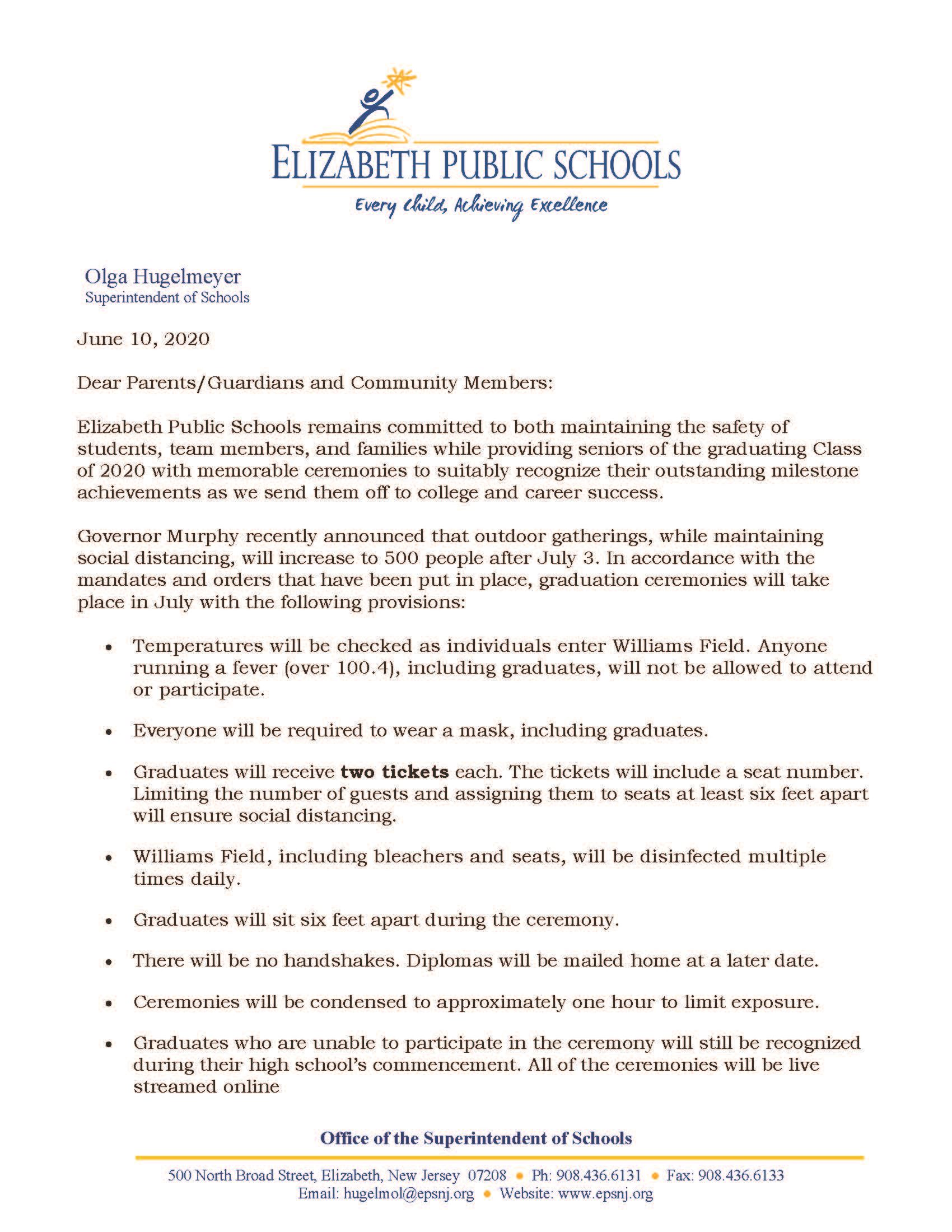 Letter to Community- Coronavirus Update- High School Graduation Ceremonies- 6-10-20