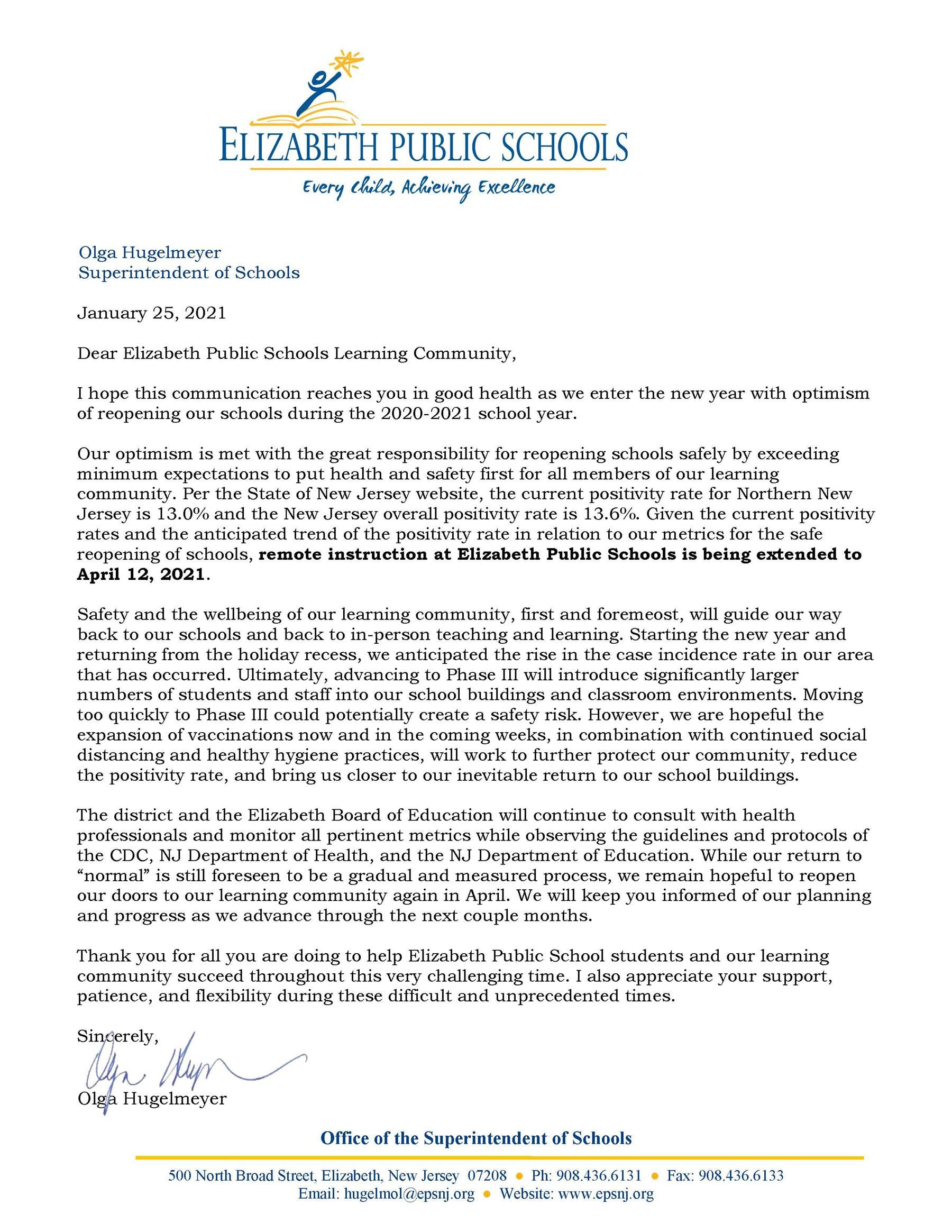 Letter to EPS Learning Community - 1-25-21- Extension of Remote Learning to April 2021