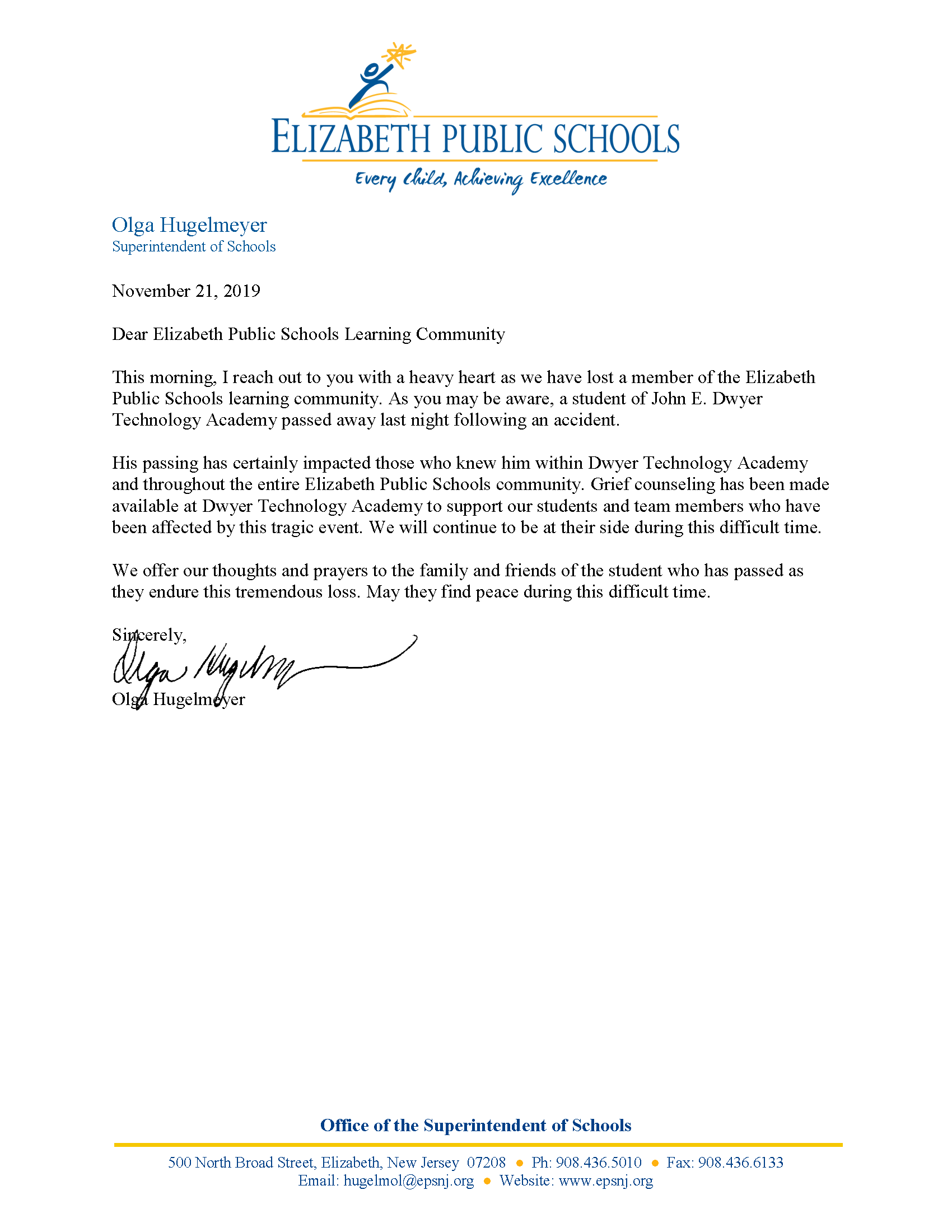 Letter to EPS Community About the Passing of Dwyer Technology Academy Student