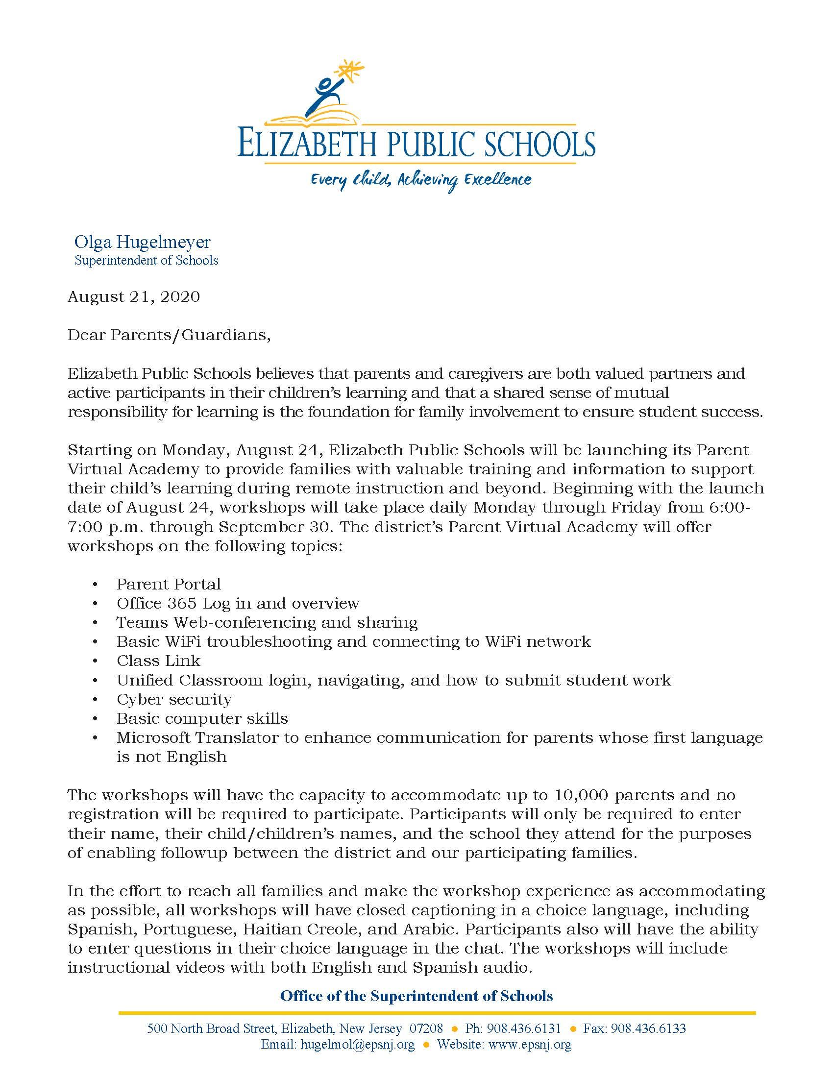 Letter to Parents- Guardians- Information on Parent Virtual Academy- 8-20-20