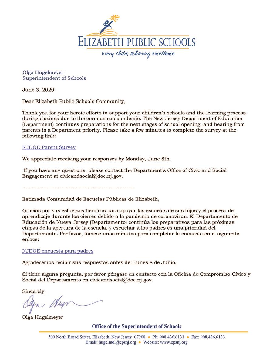 Letter to Parents-Guardians About NJDOE Parent Survey - 6-3-20