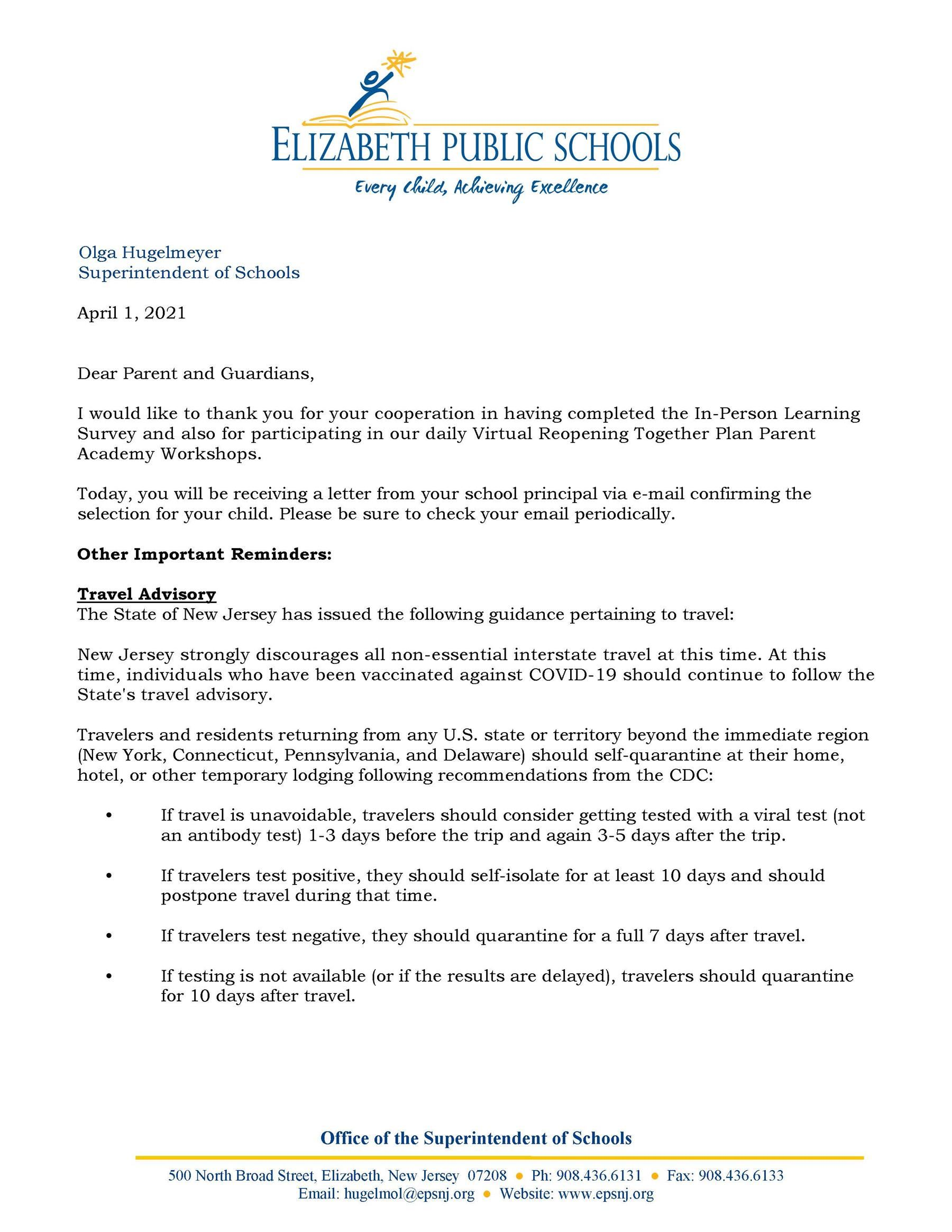 Letter to Parents-Guardians- Return to In-Person Learning Update- 4-1-21