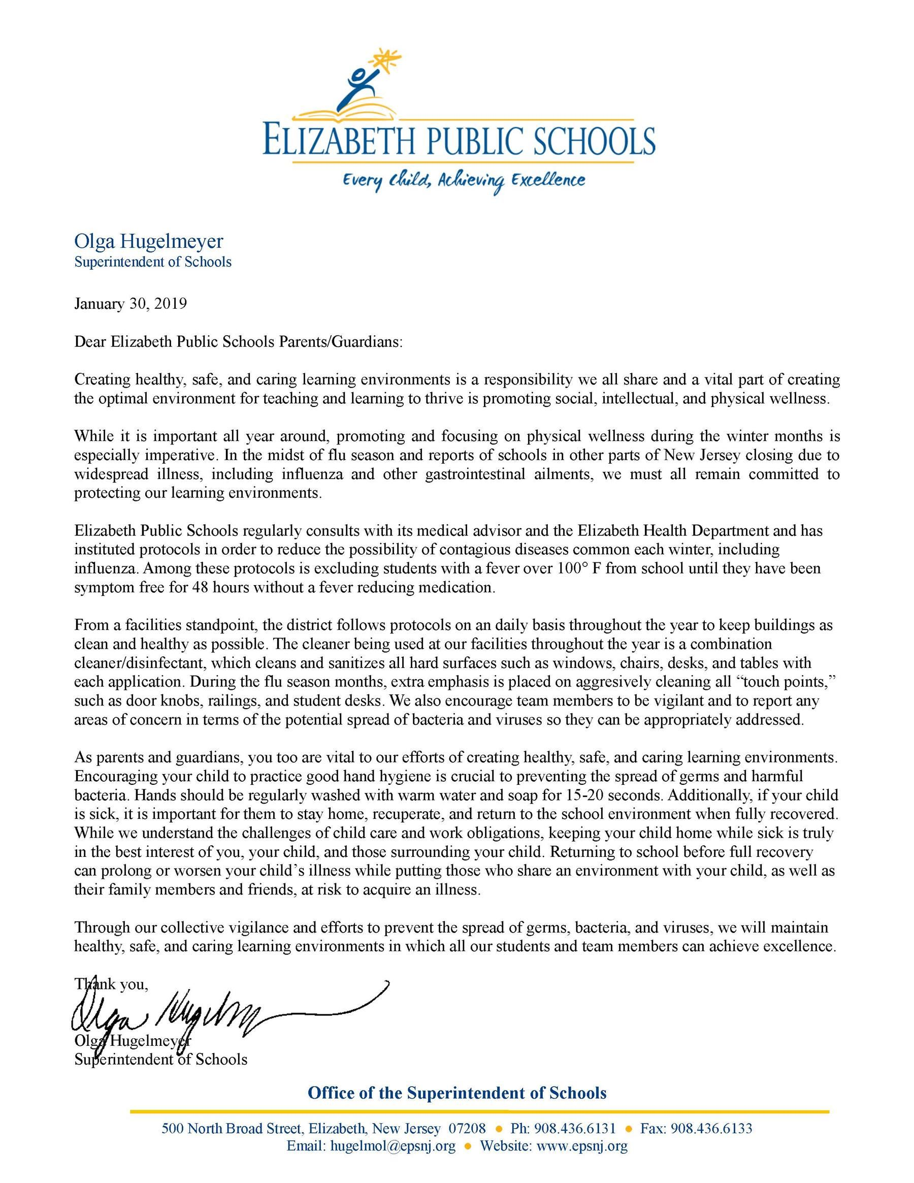 Letter to parents-guardians- Creating Healthy Safe and Caring Learning Environments