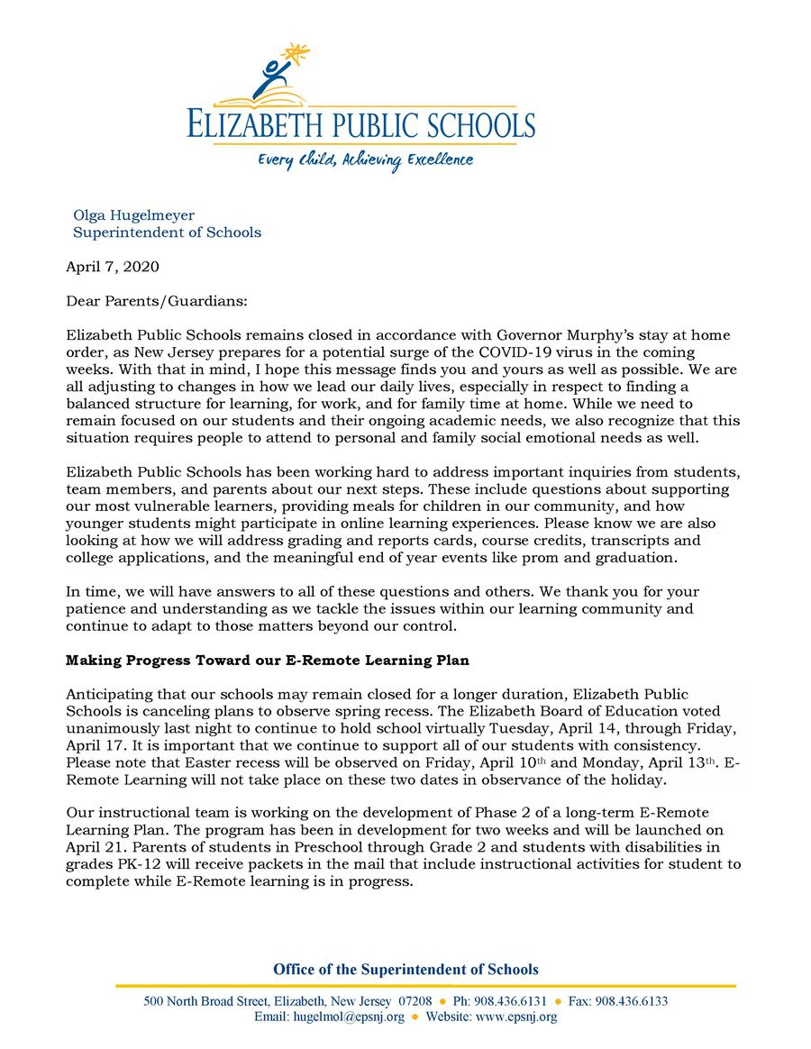 Letter to Community- Rollout of Phase II of E-Remote Learning- 4-7-20