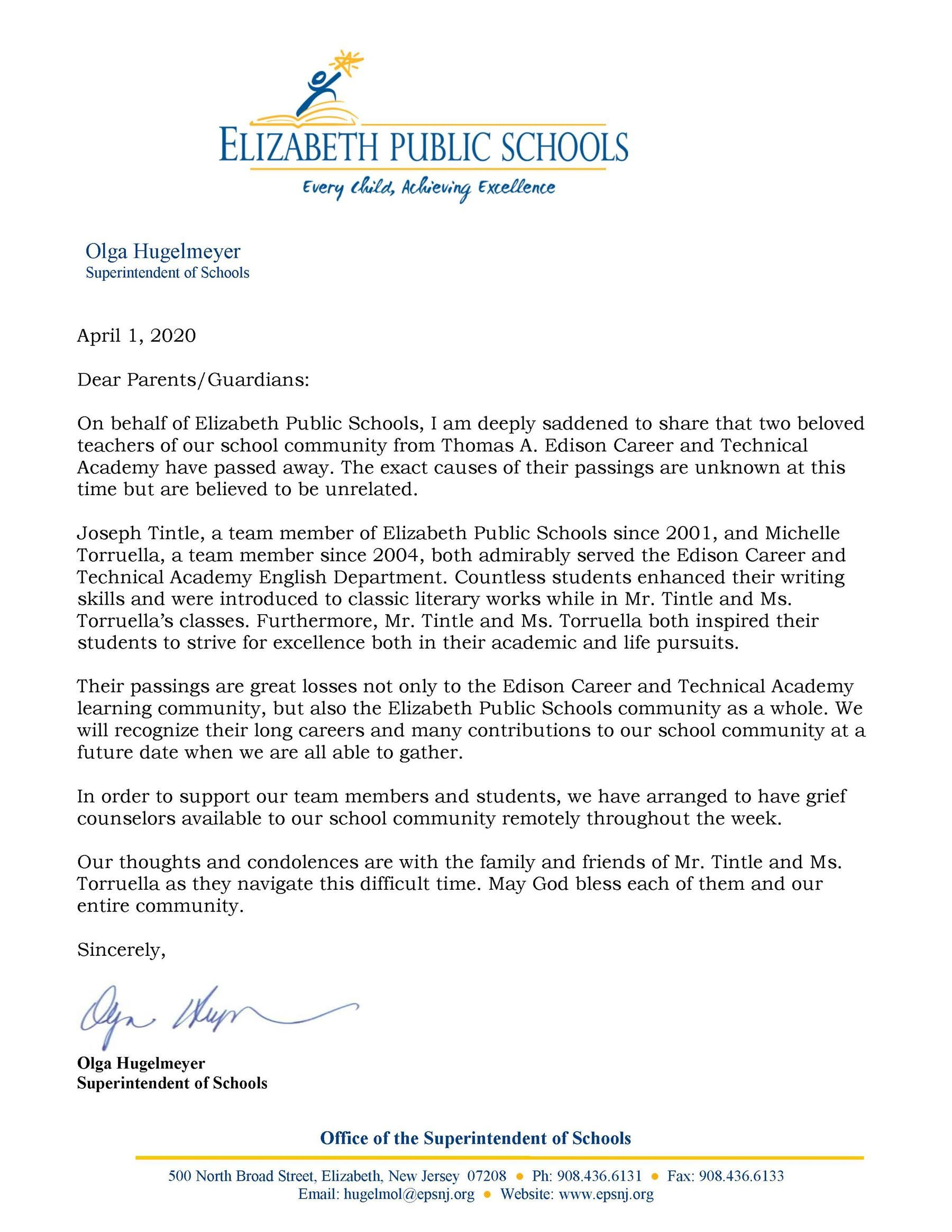 Letter to Community about the Passing of Joseph Tintle and Michelle Torruella- 4-1-20