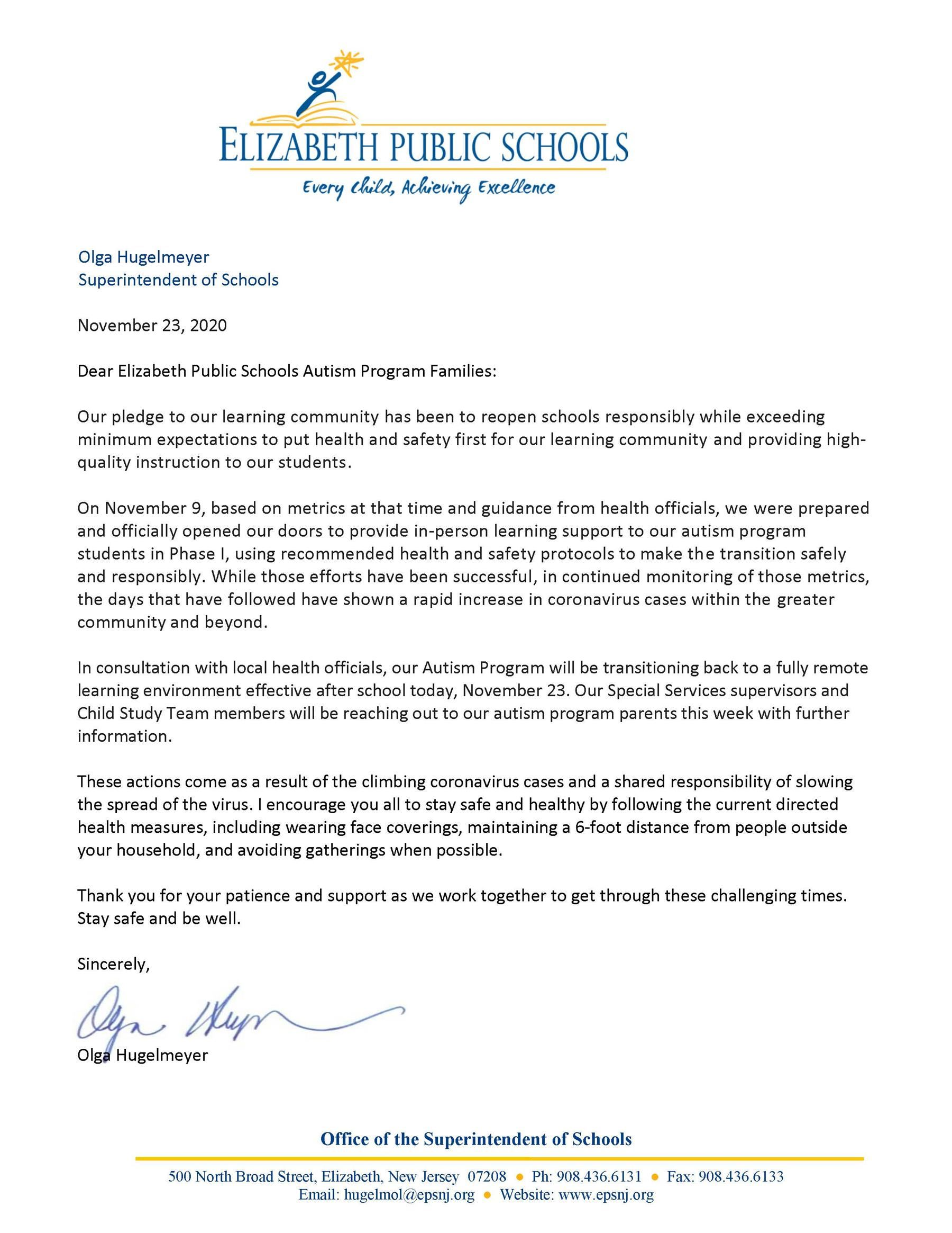 Letter to EPS Autism Program Families- EPS Autism Program Returns to All Remote Instruction- 11-23-20