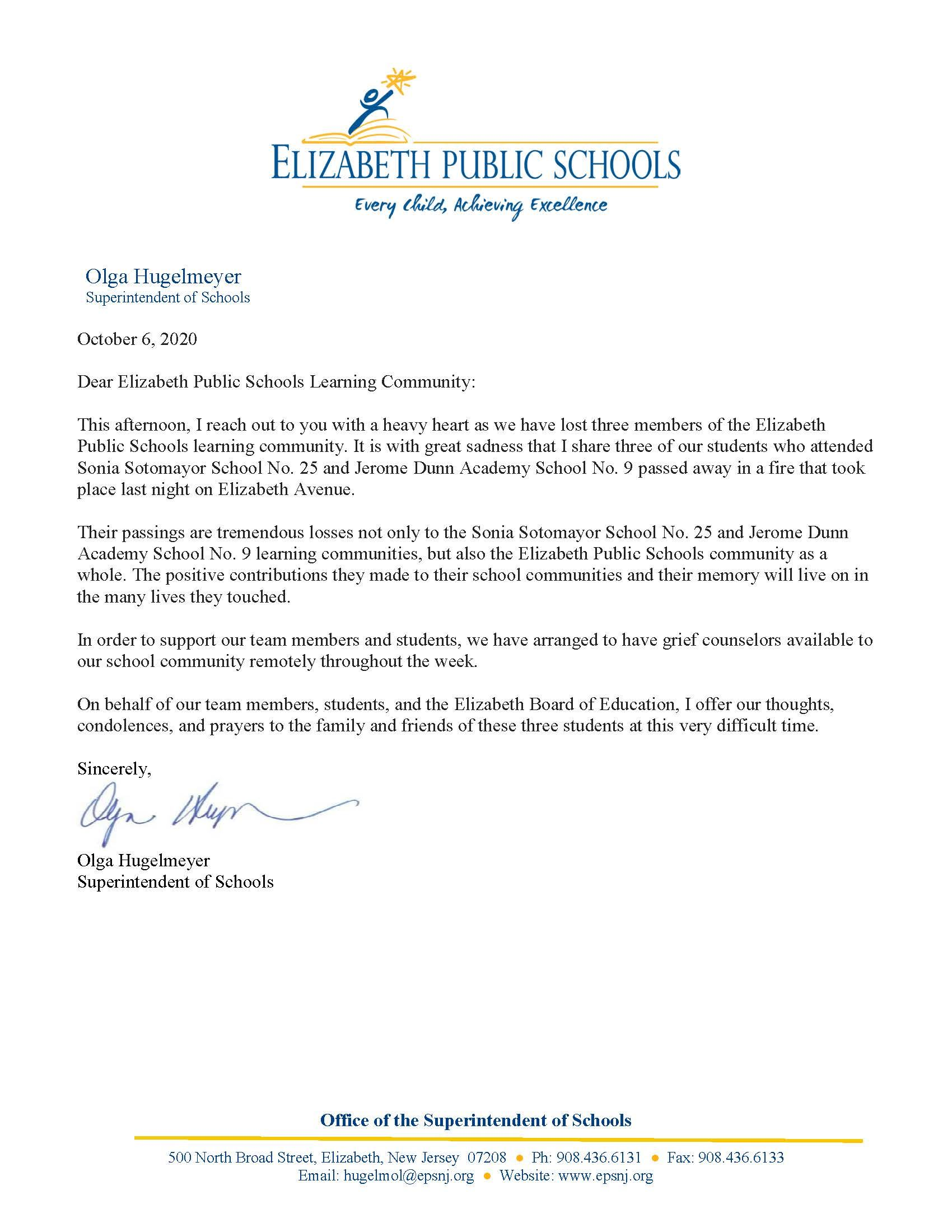 Letter to EPS Community- Passing of three EPS students in Elizabeth Avenue fire- 10-6-20