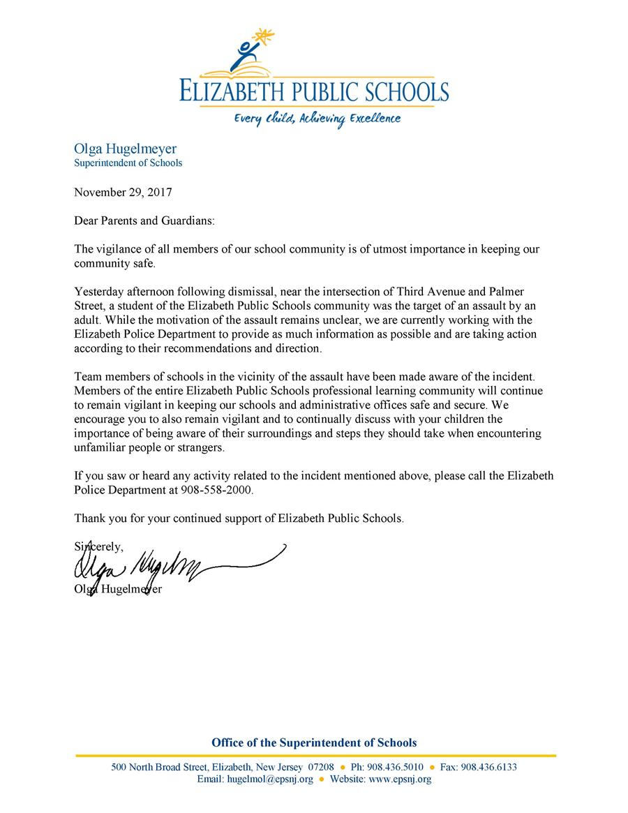 Letter to EPS parents about assault of student in Elizabeth