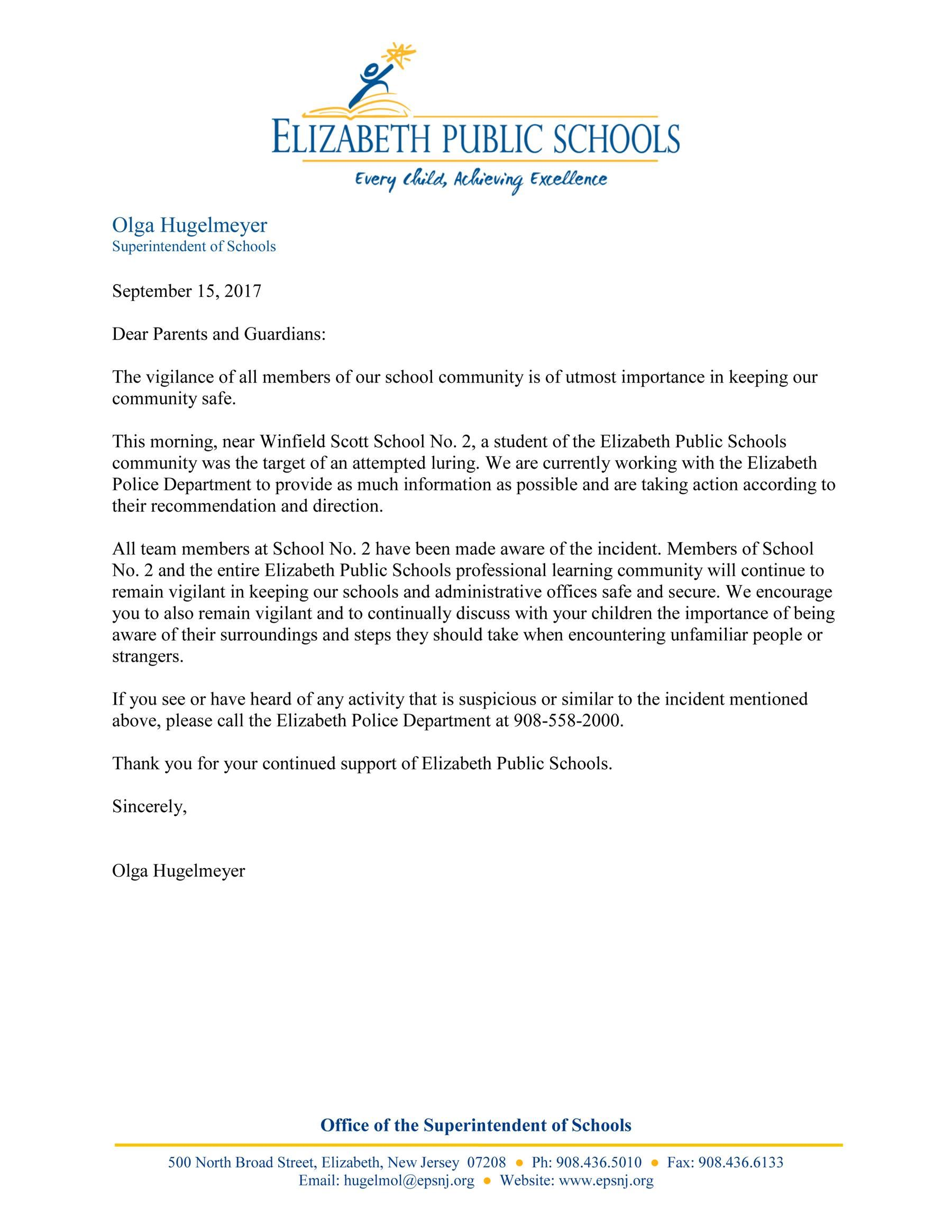Letter Regarding Luring Incident at School No. 2