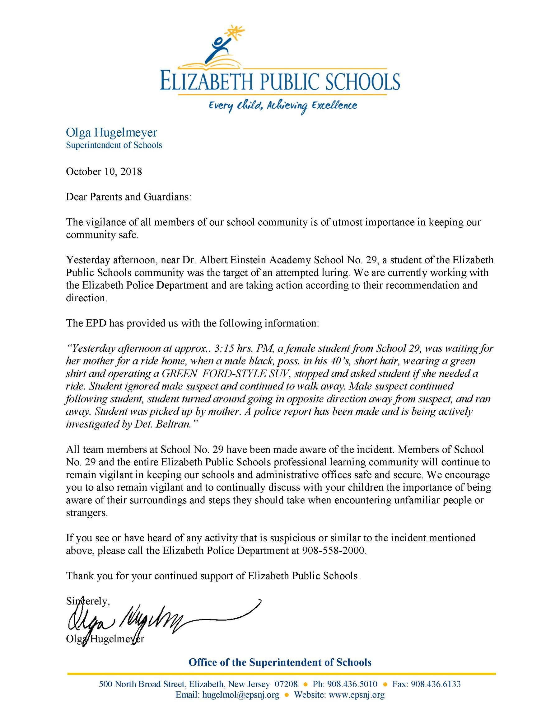 Letter to EPS parents about incident of attempted luring in Elizabeth near School 29