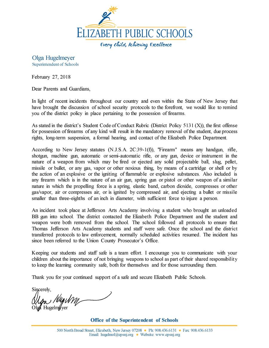 Letter to Jefferson Parents - District Policy Against Bringing Firearms to School- 2-27-18