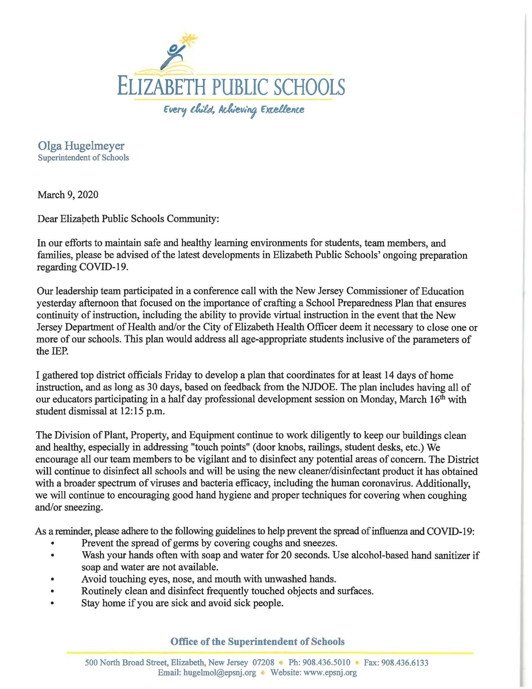 Letter to Parents-Coronavirus Communication Update 3-9-20