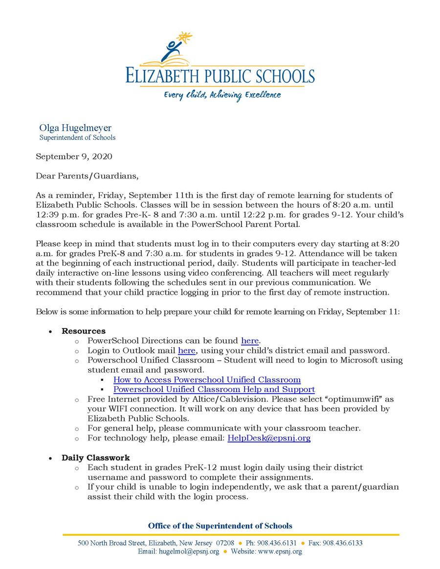 Letter to Parents-Guardians - First Day of Remote Learning is September 11 (9-9-20)
