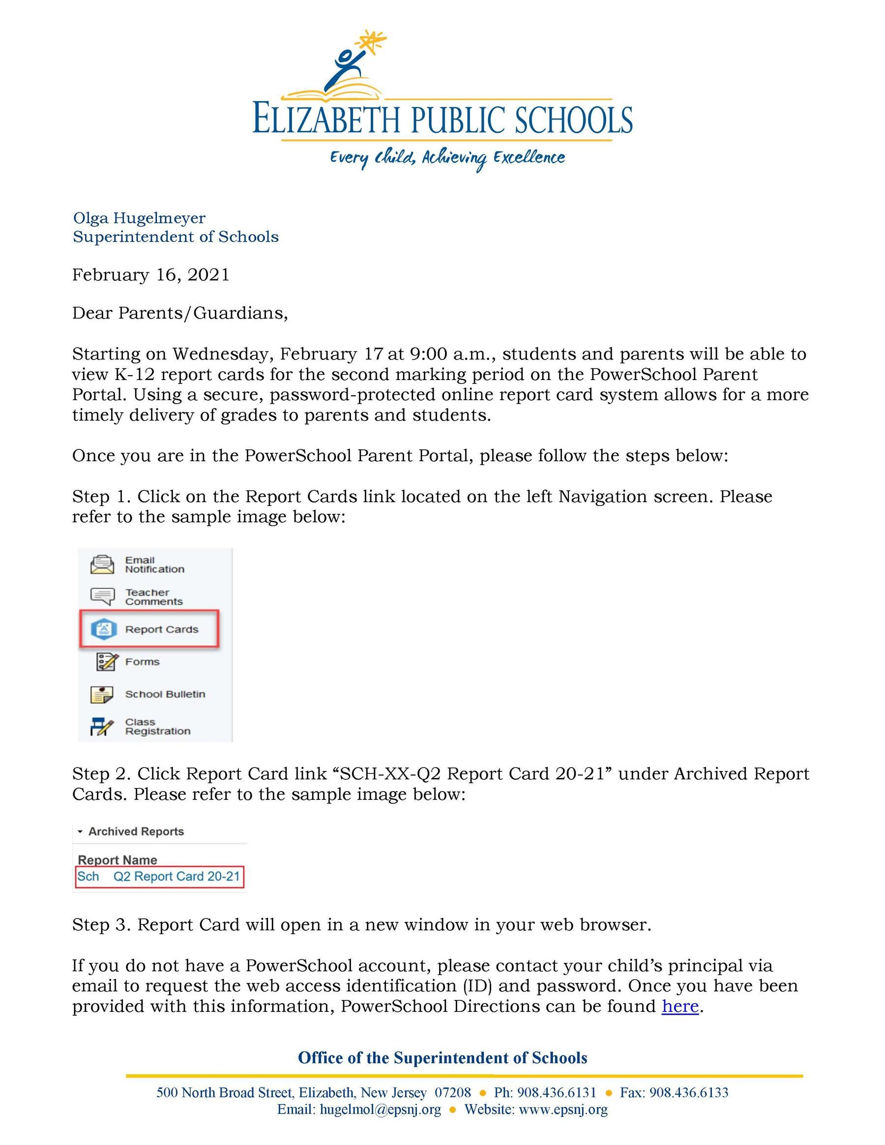 Letter to Parents-Guardians- Second Marking Period Report Cards Available on PowerSchool- 2-16-21
