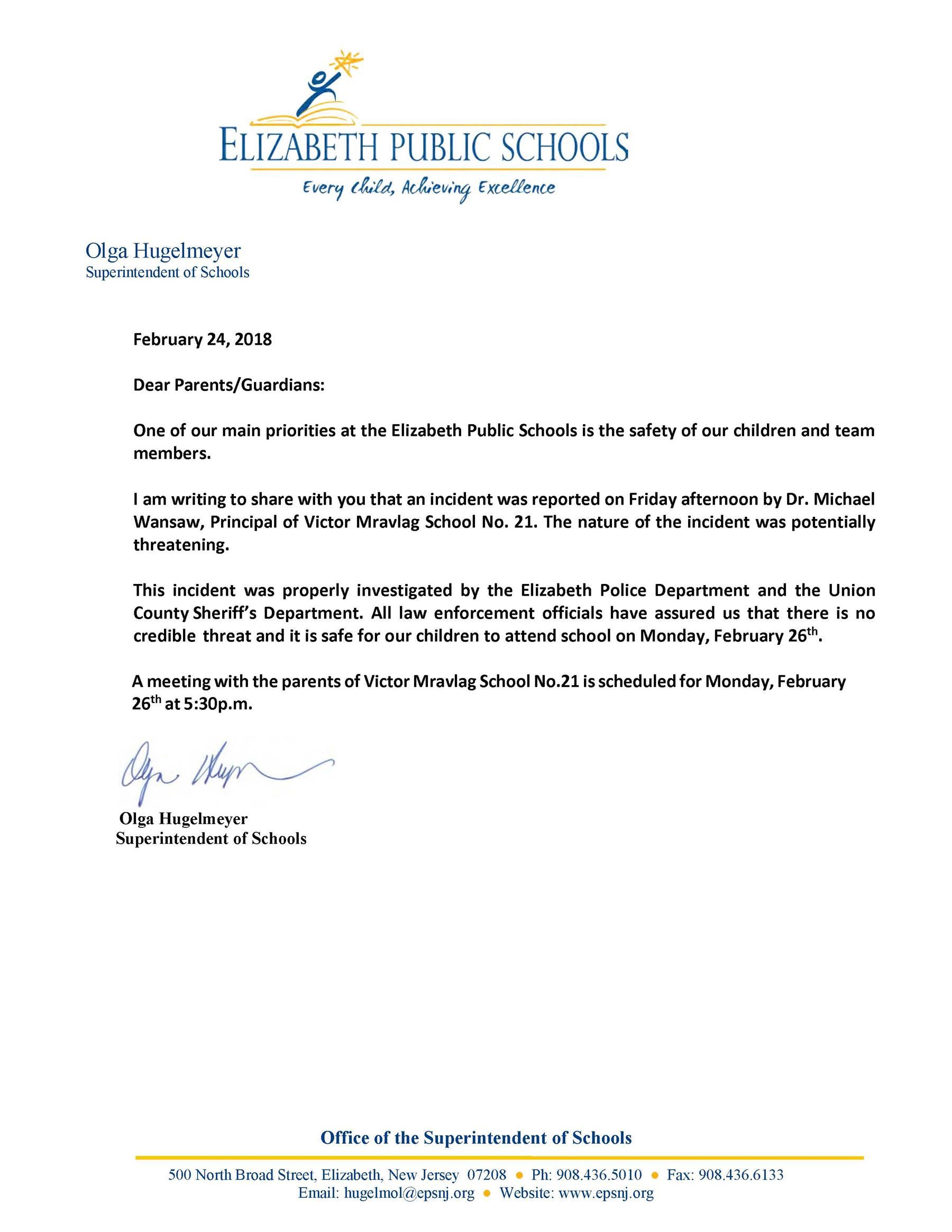 Letter to Parents Regarding Incident at School 21
