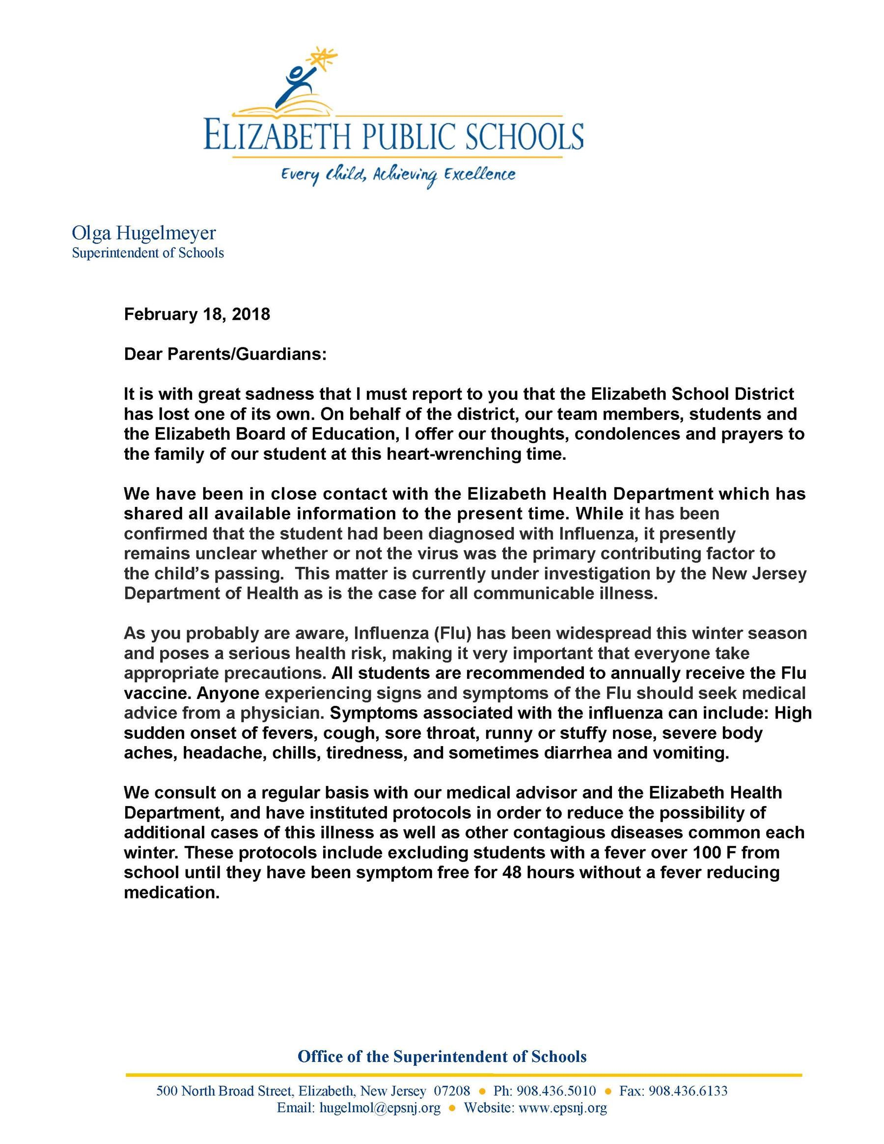 Letter to Parents Regarding Student Passing and Flu Prevention