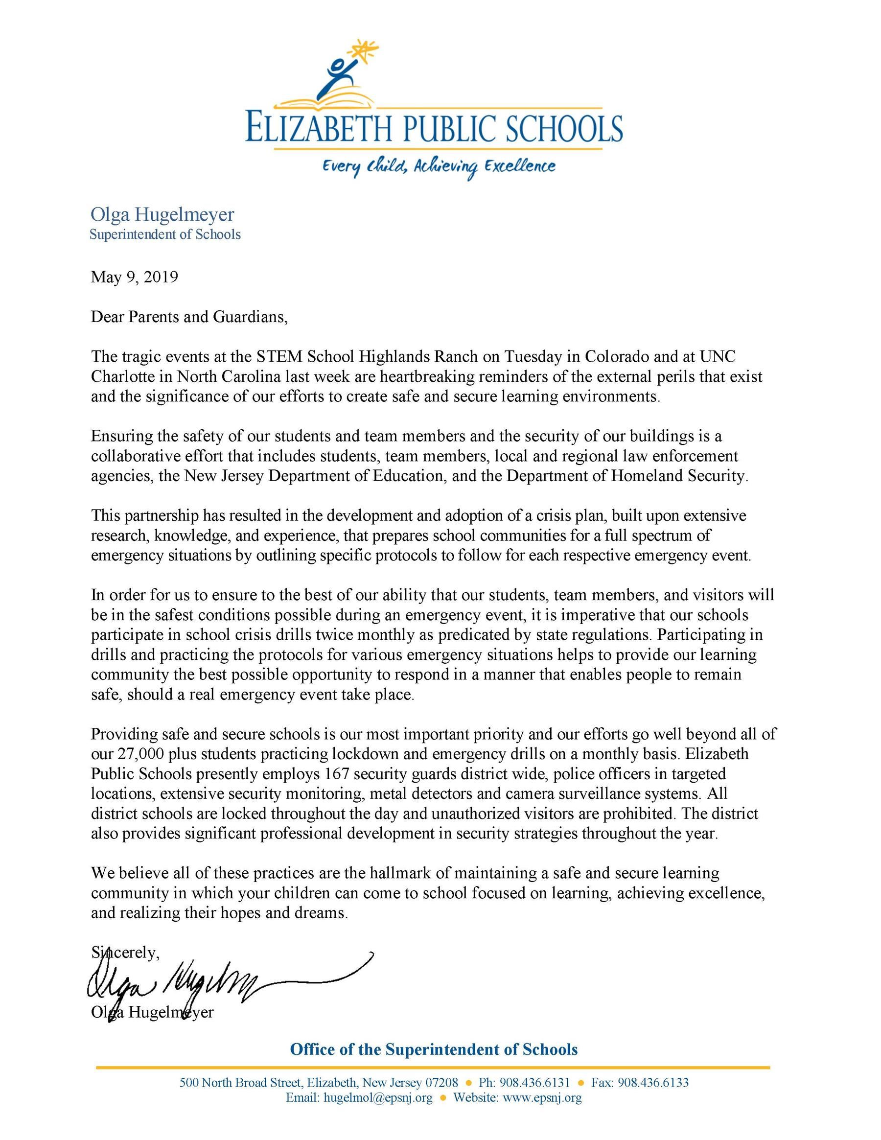 Letter to parents-guardians expressing the importance of school security drills- 5-9-19