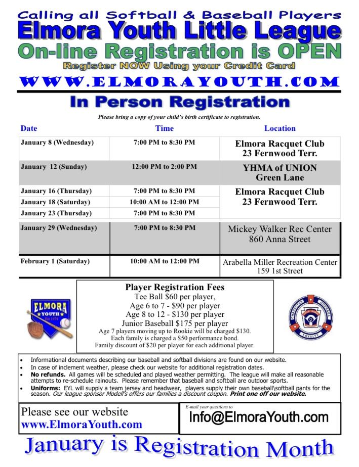 Elmora Youth League Registration Flyer