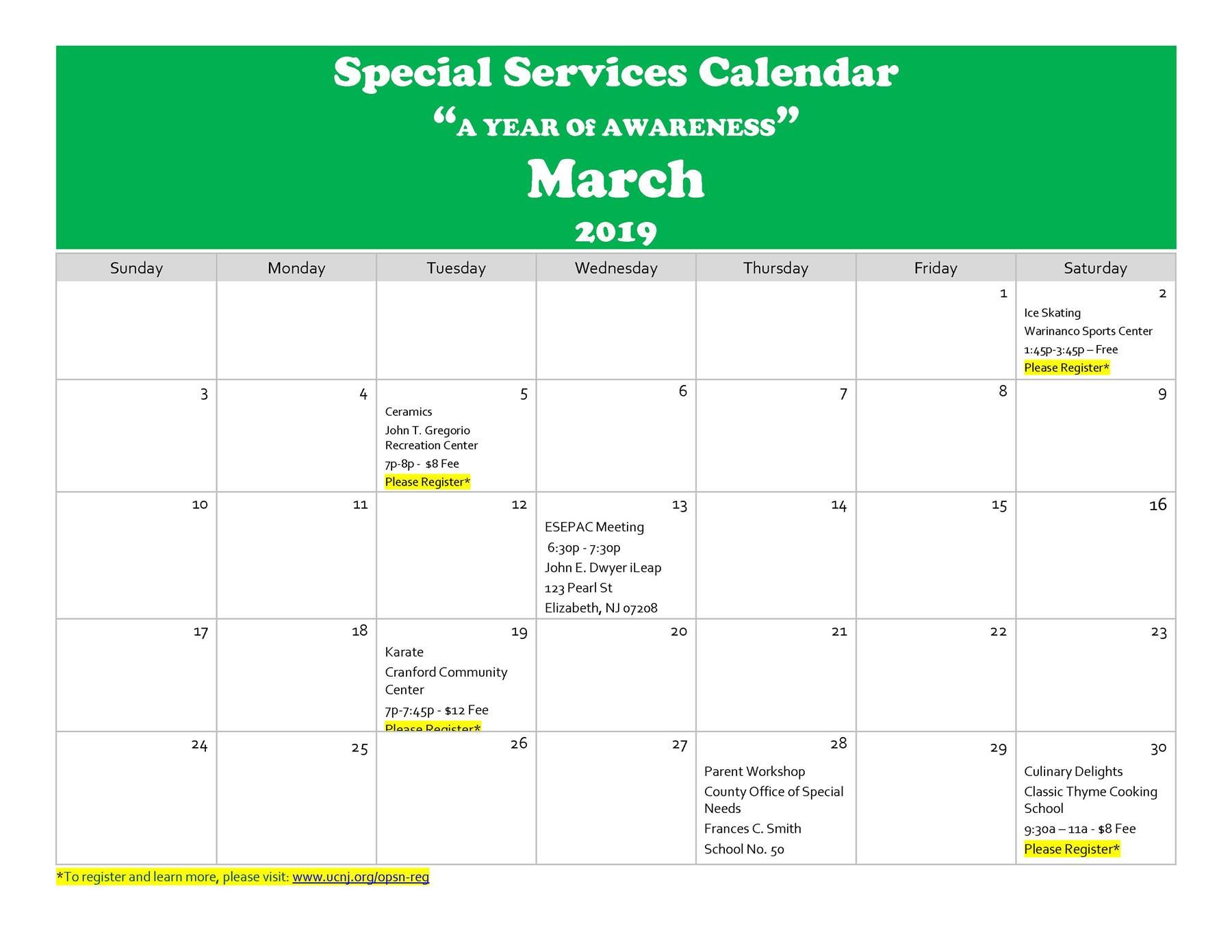 "Special Services Calendar ""A YEAR Of AWARENESS"" March 2019"
