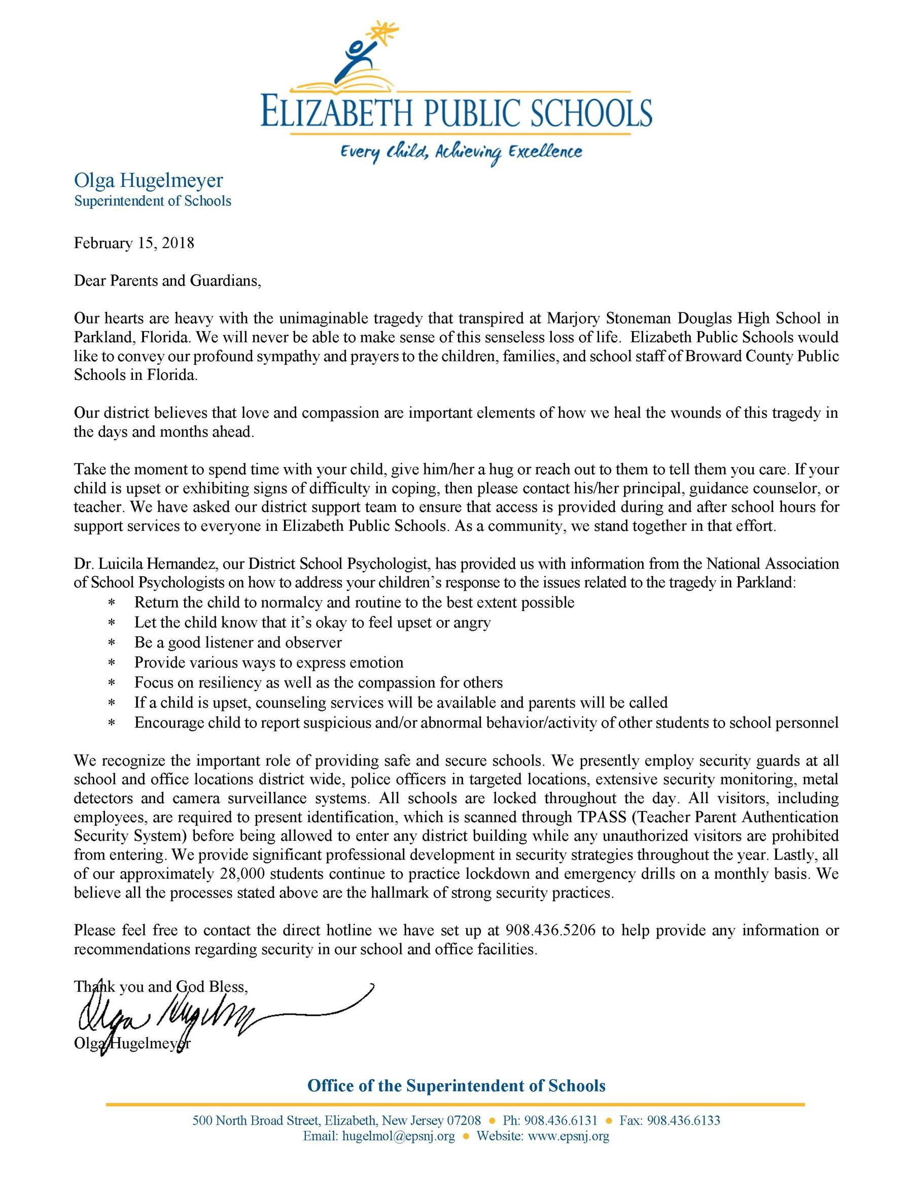 Parkland tragedy letter to Elizabeth Public Schools Parents and Guardians- 2-15-18