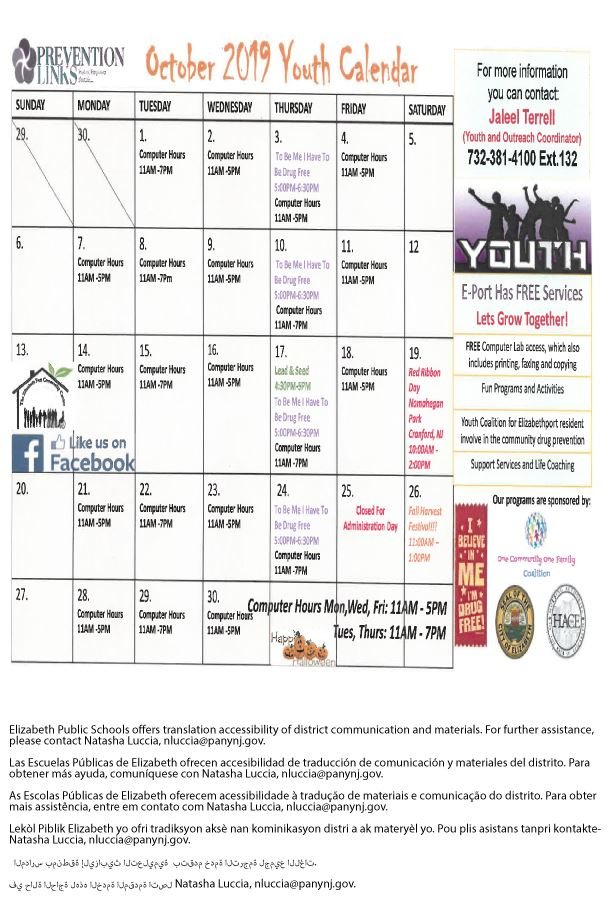 Prevention Links October Calendar
