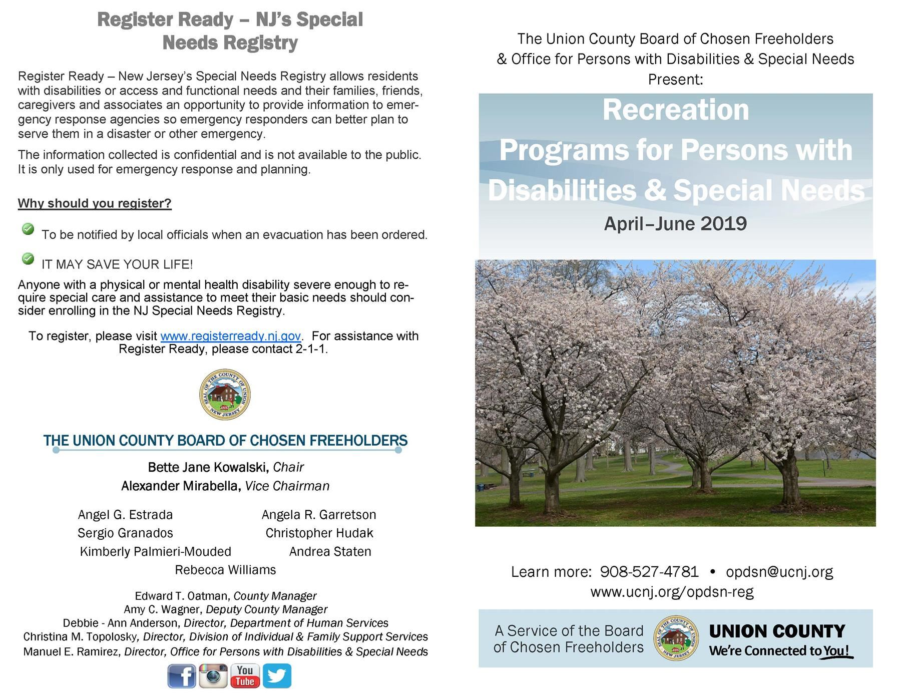 Recreation Programs for Persons with Disabilities & Special Needs April–June 2019