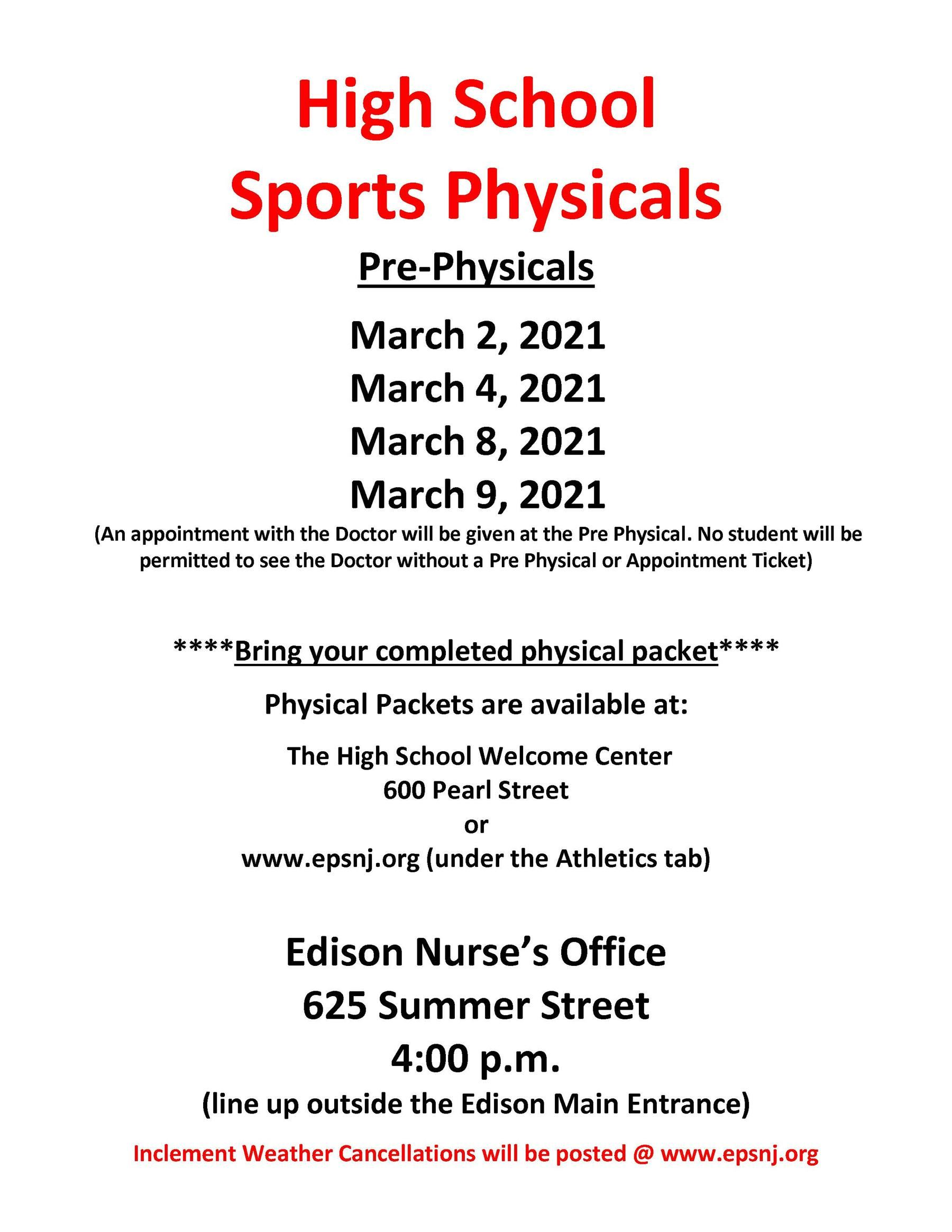 Sports Physicals - 2021