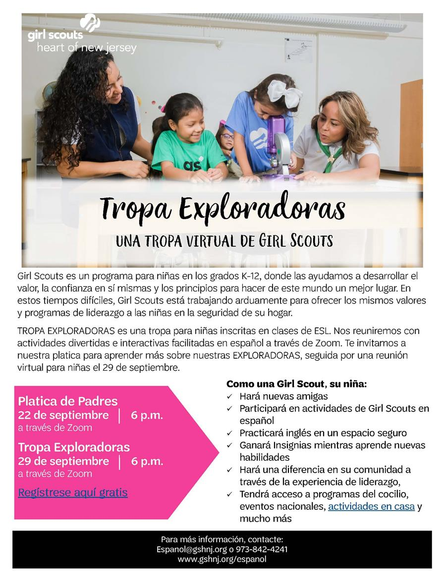 Girl Scouts ESL troop will become virtual this fall! Tropa Exploradora gives girls enrolled in ESL classes an opportunity to