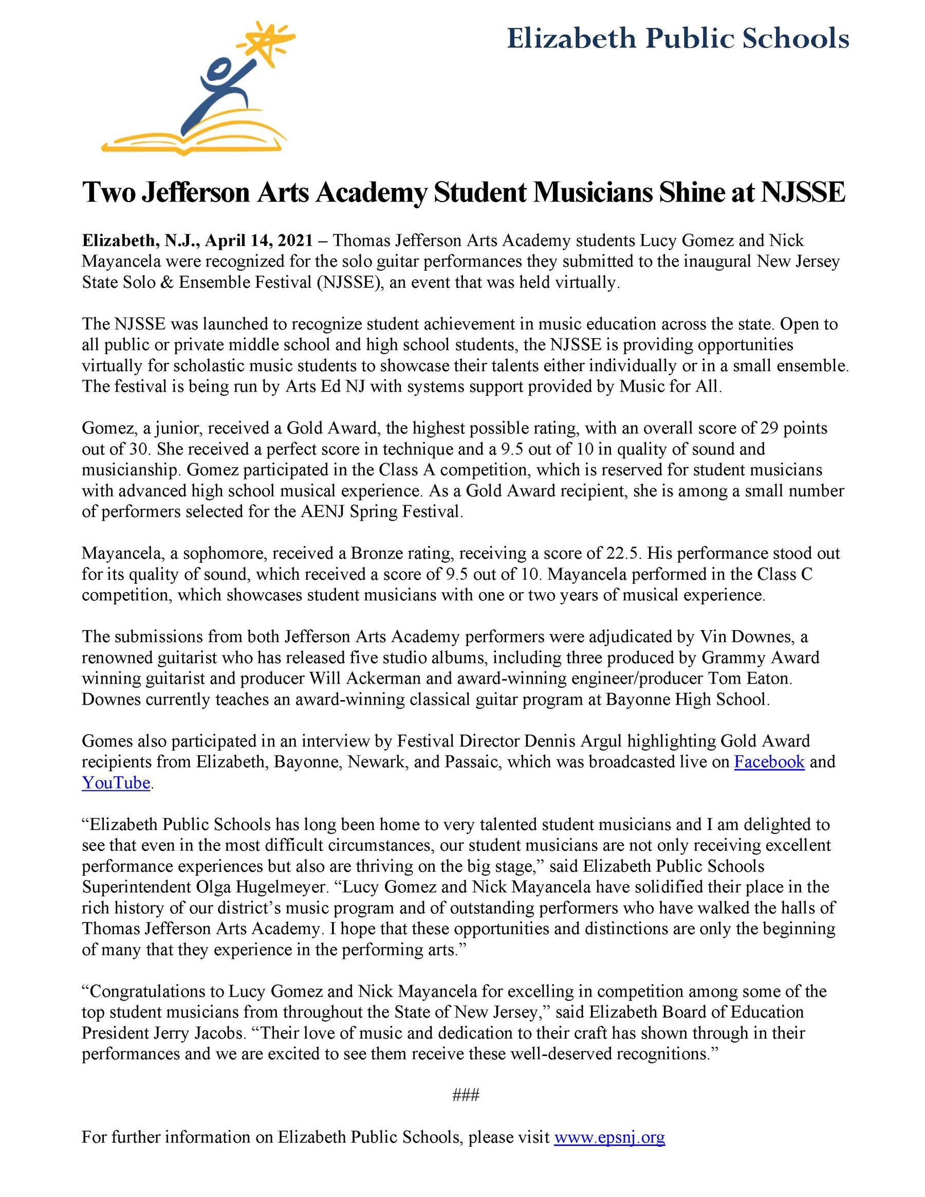 Two Jefferson Arts Academy Student Musicians Shine at NJSSE