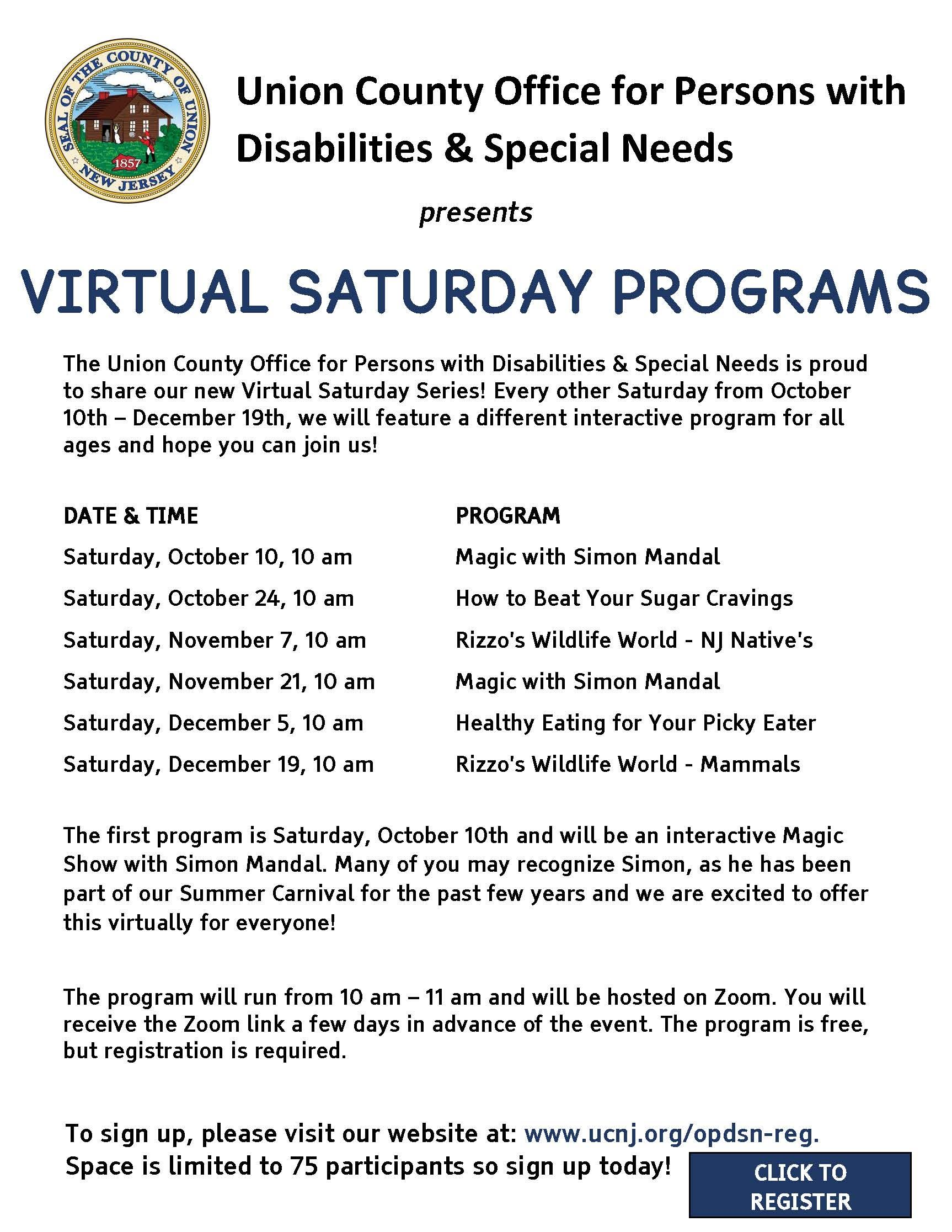 UC Office for Persons with Disabilities  Special Needs- 2020 Virtual Saturdays Series