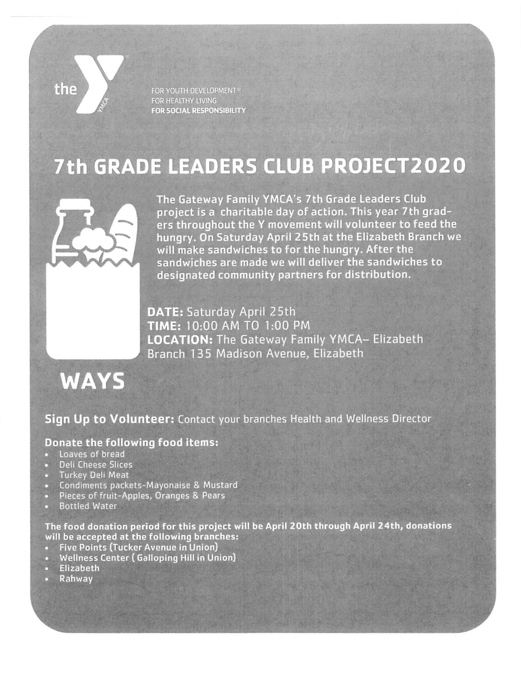 YMCA 7th Grade Leaders Club Project2020