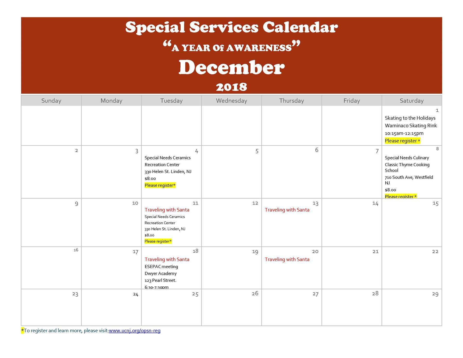 "Special Services Calendar ""A YEAR Of AWARENESS"" December 2018"