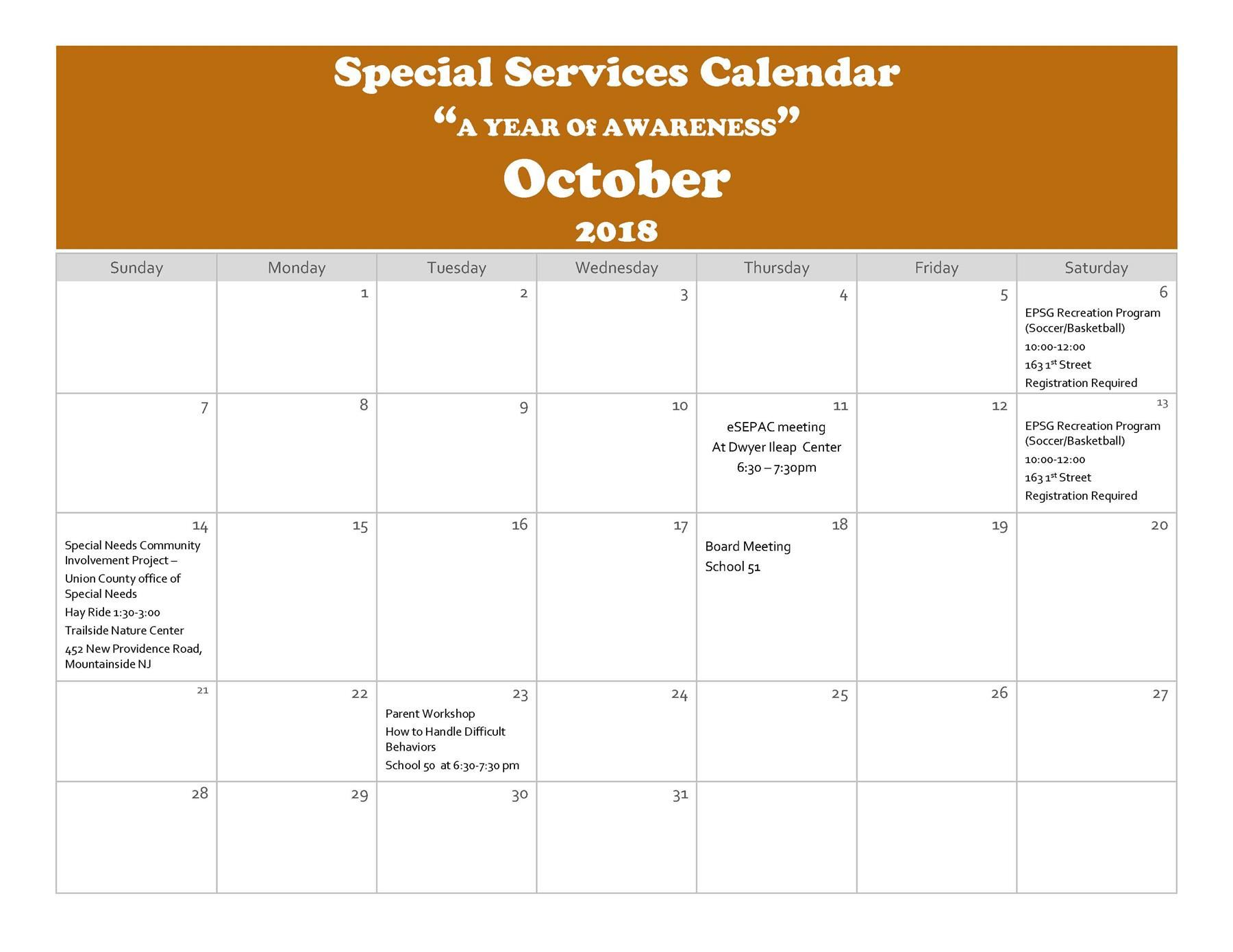 "Special Services Calendar ""A YEAR Of AWARENESS"" October 2018"