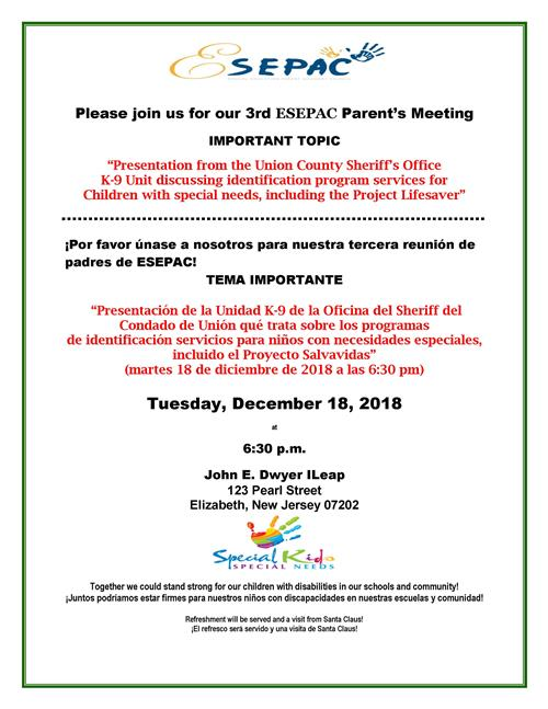 Please join us for our 3rd ESEPAC Parent's Meeting